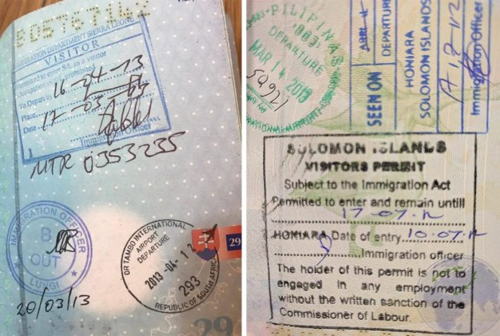 Passport stamps for Sierra Leone and Solomon Islands