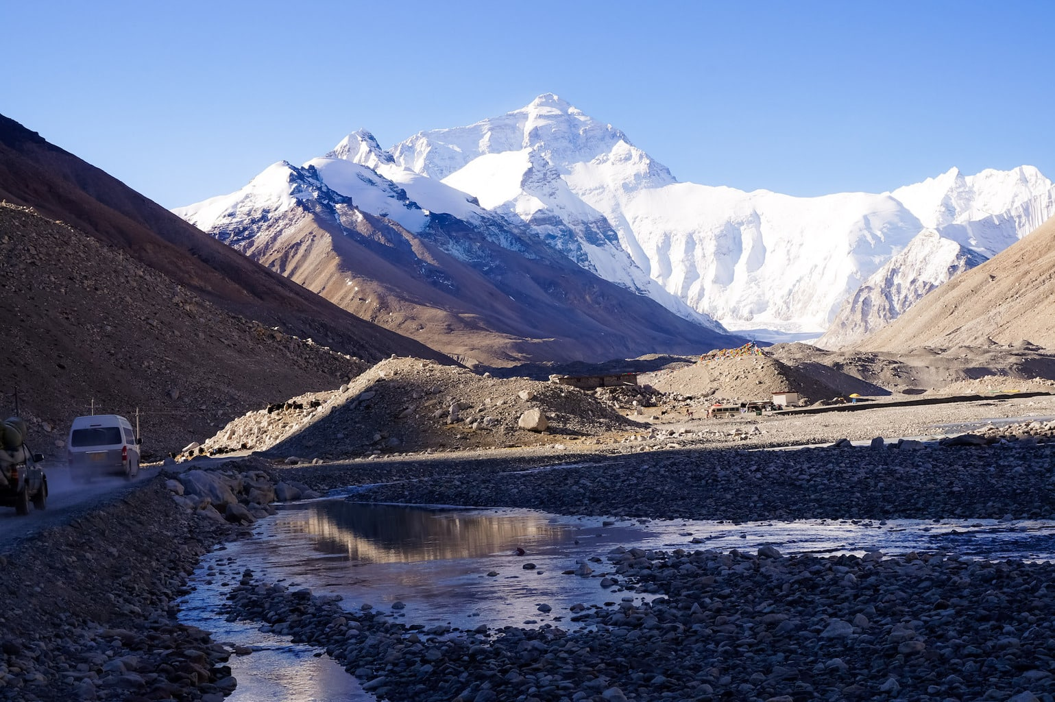 Bus up Everest base camp
