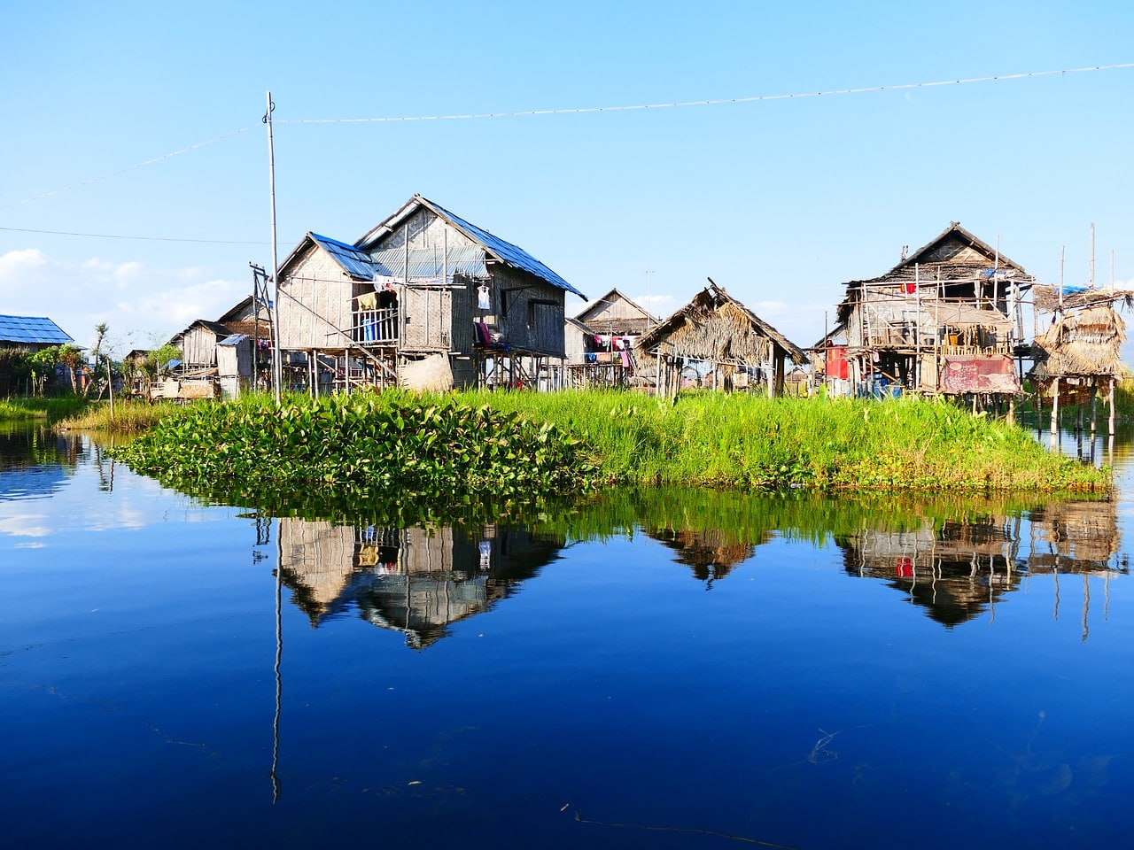 Traditional stilted houses on Inle Lake