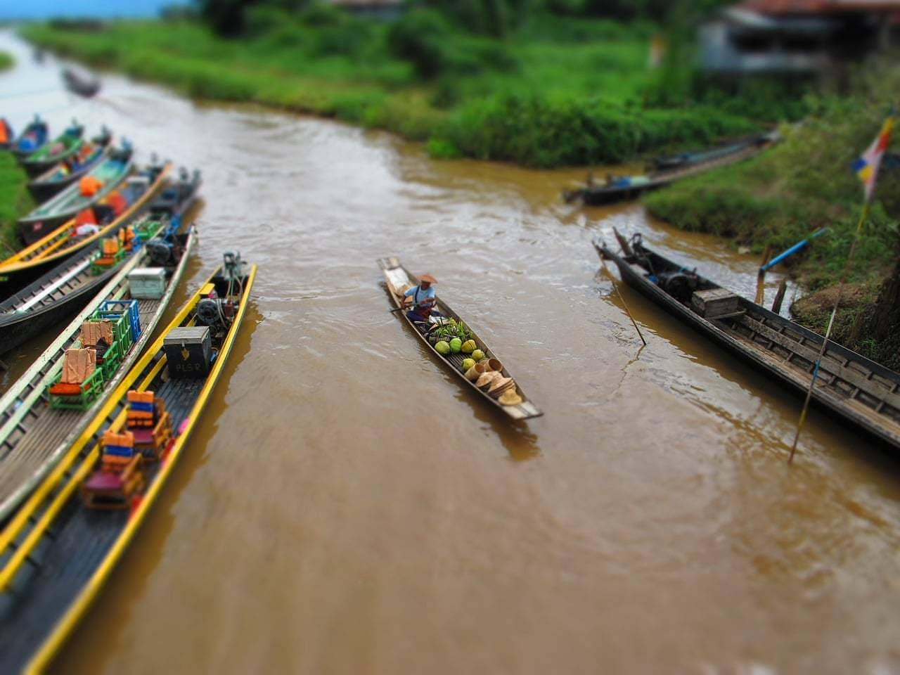 Floating market on Inle Lake