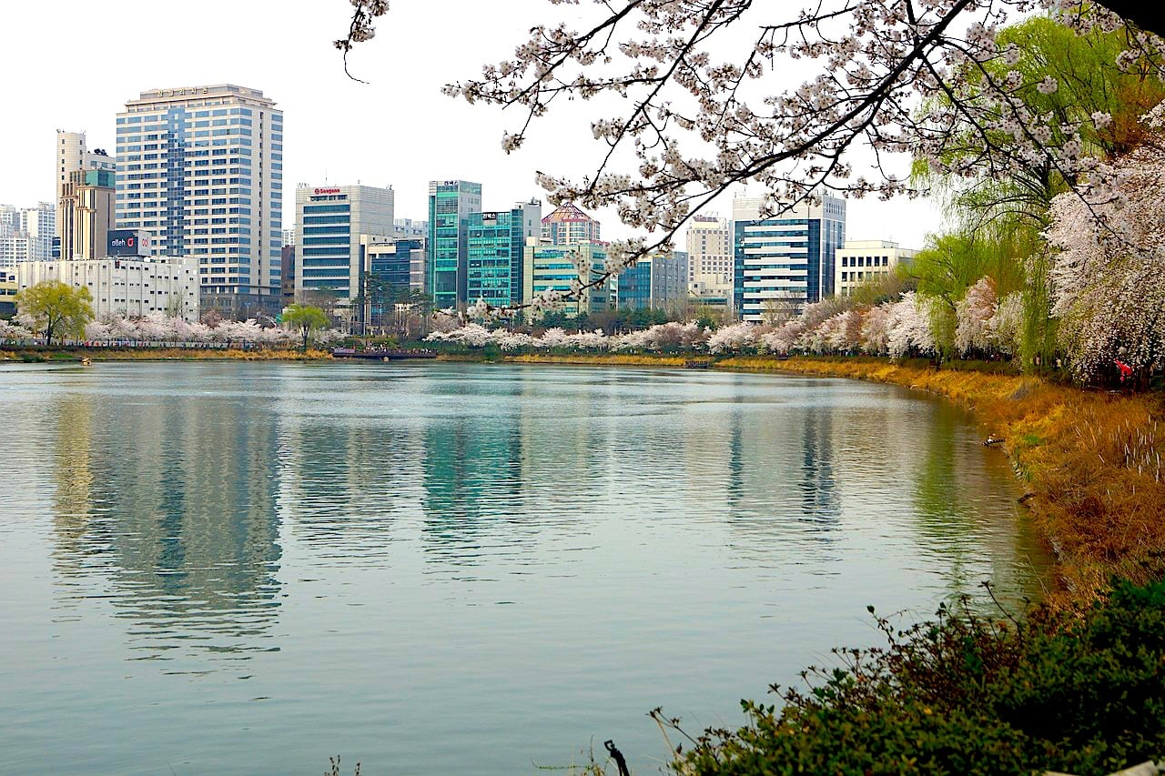 Seokchon Lake in Jamsil during Spring