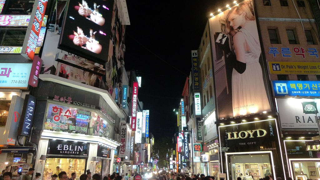 Shops, shops and more shops in Myeongdong