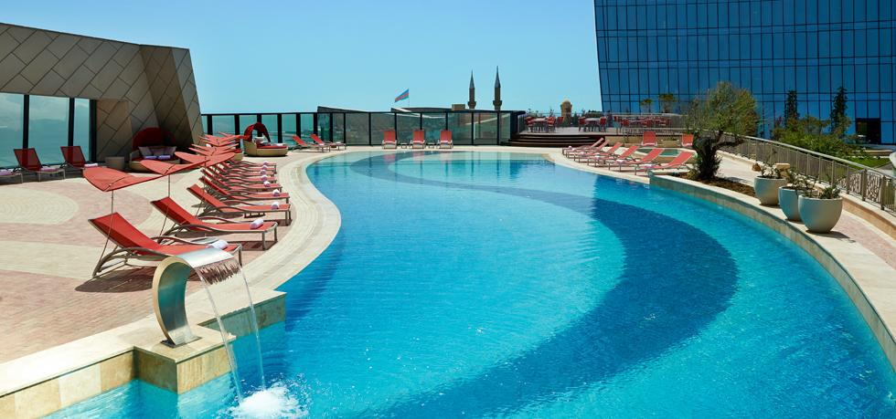 Baku flame towers pool