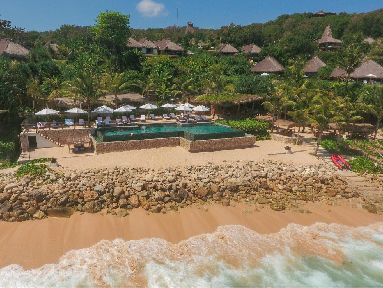 Nihi Sumba Hotel review, Aerial shot of the pool