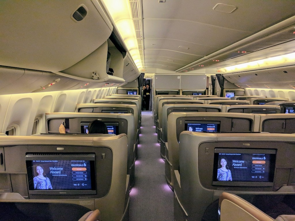 Seats on Singapore Airlines Business Class