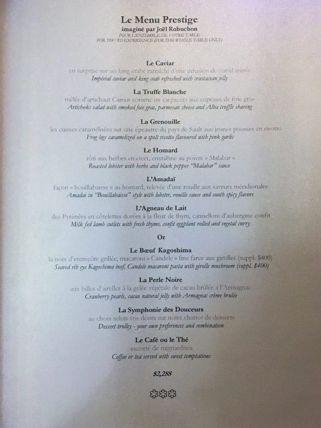 Robuchon au Dome Menu