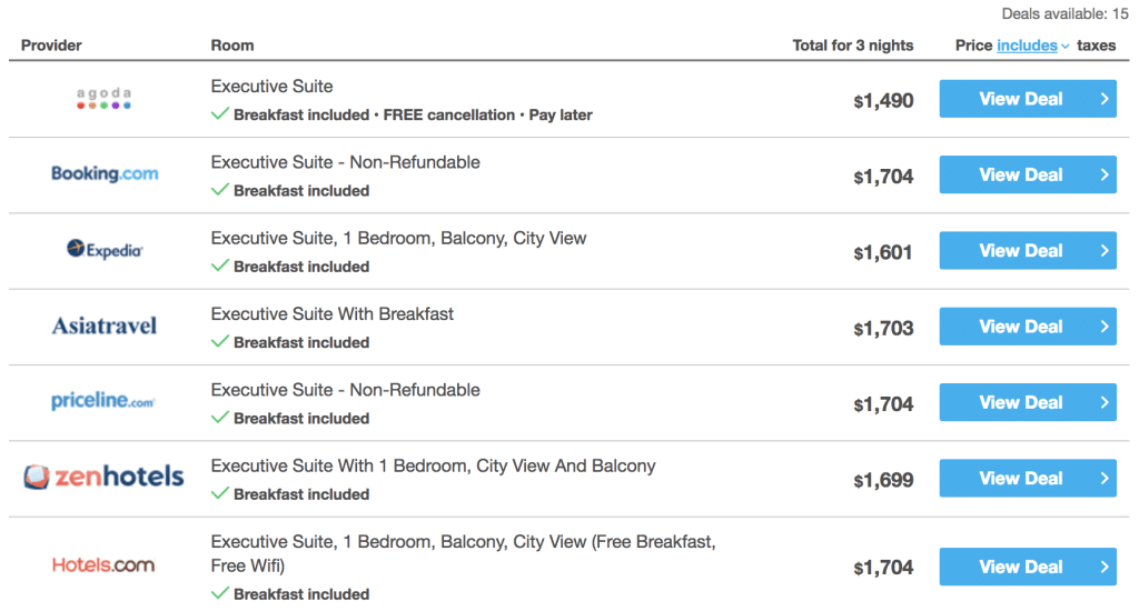Price comparison from HotelsCombined for The Strand