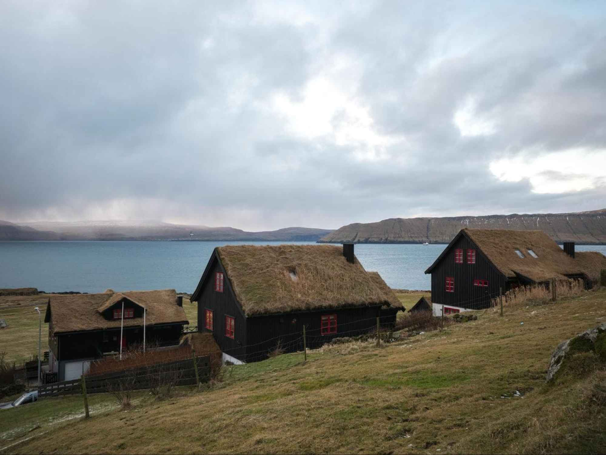Moss covered houses in Faroes Islands