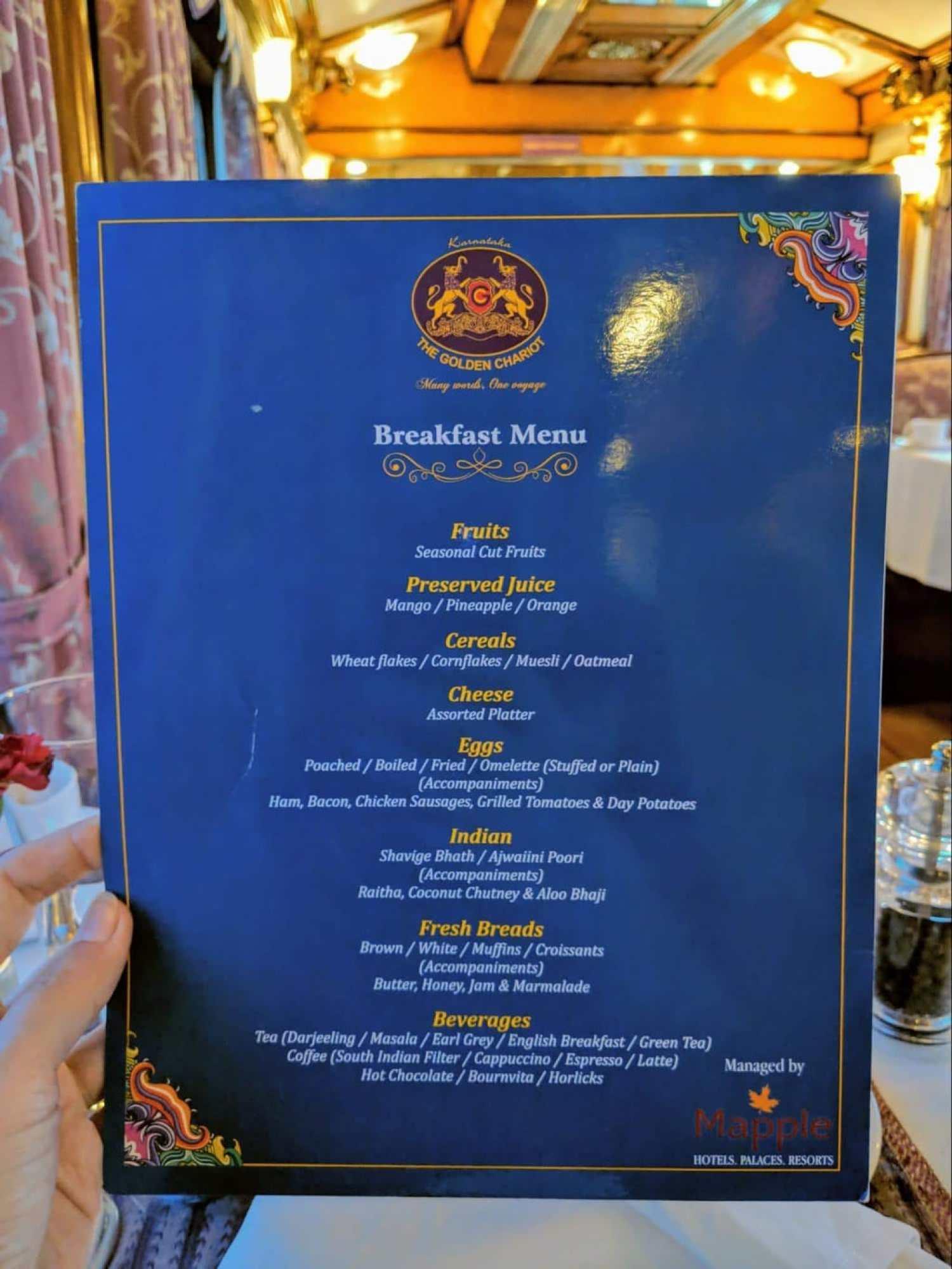 Breakfast menu on the Golden Chariot
