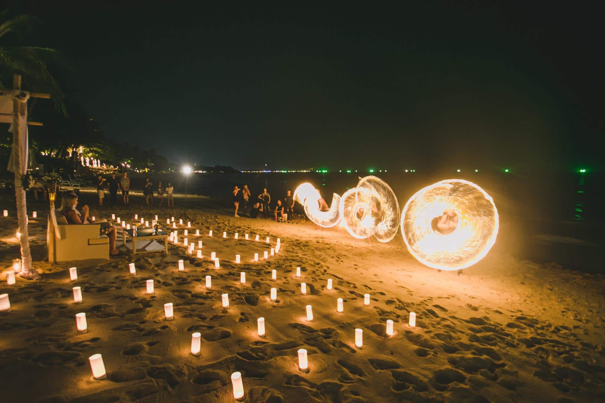 Fire spinners on the beach near Impiana Chaweng Noi