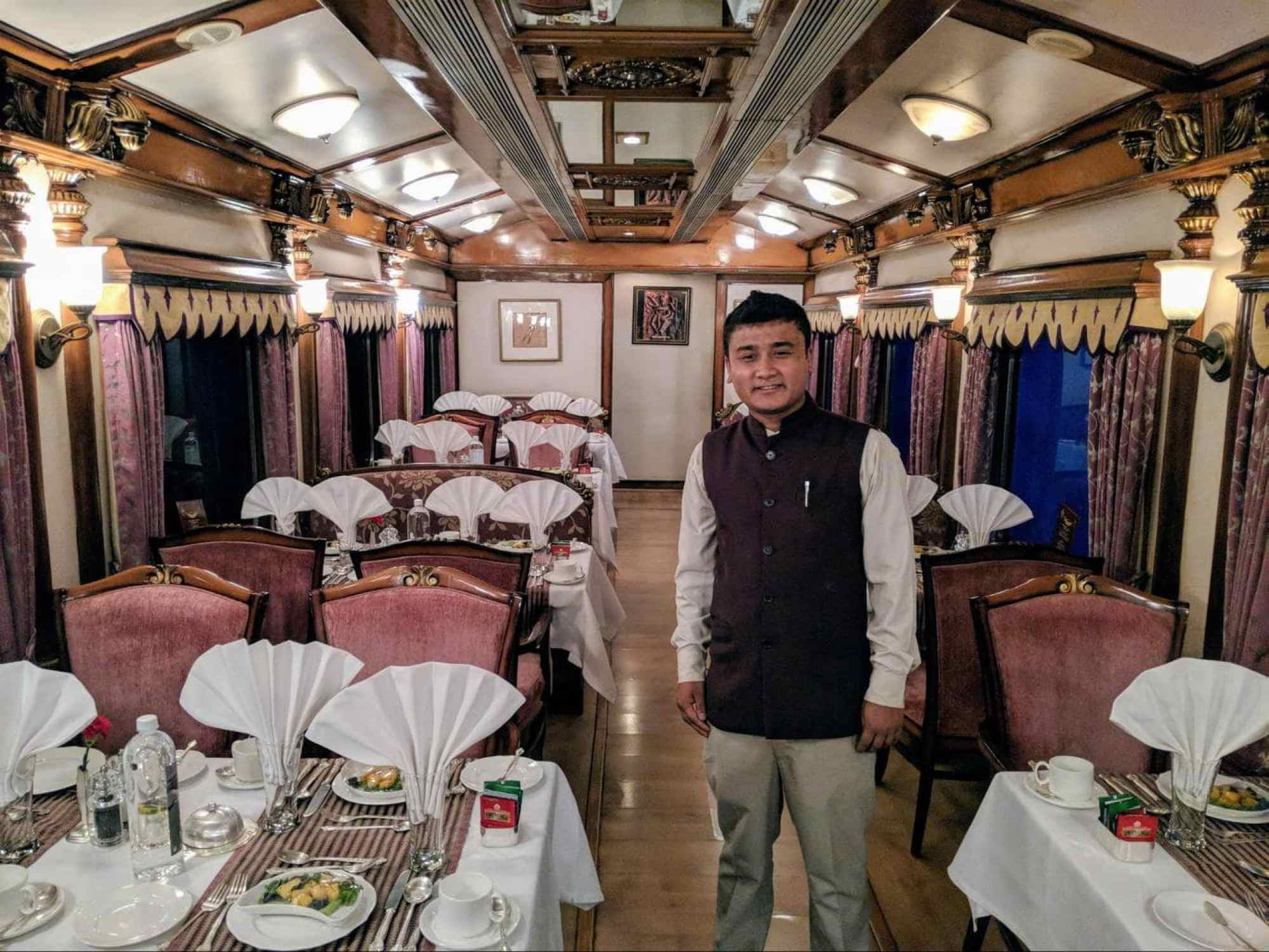 Restaurant car on the Golden Chariot