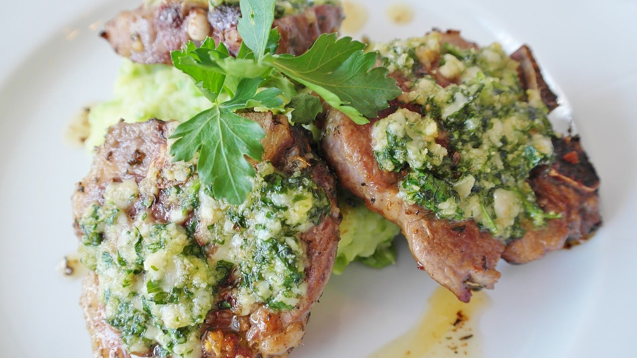 Lamb cutlets with salsa verde