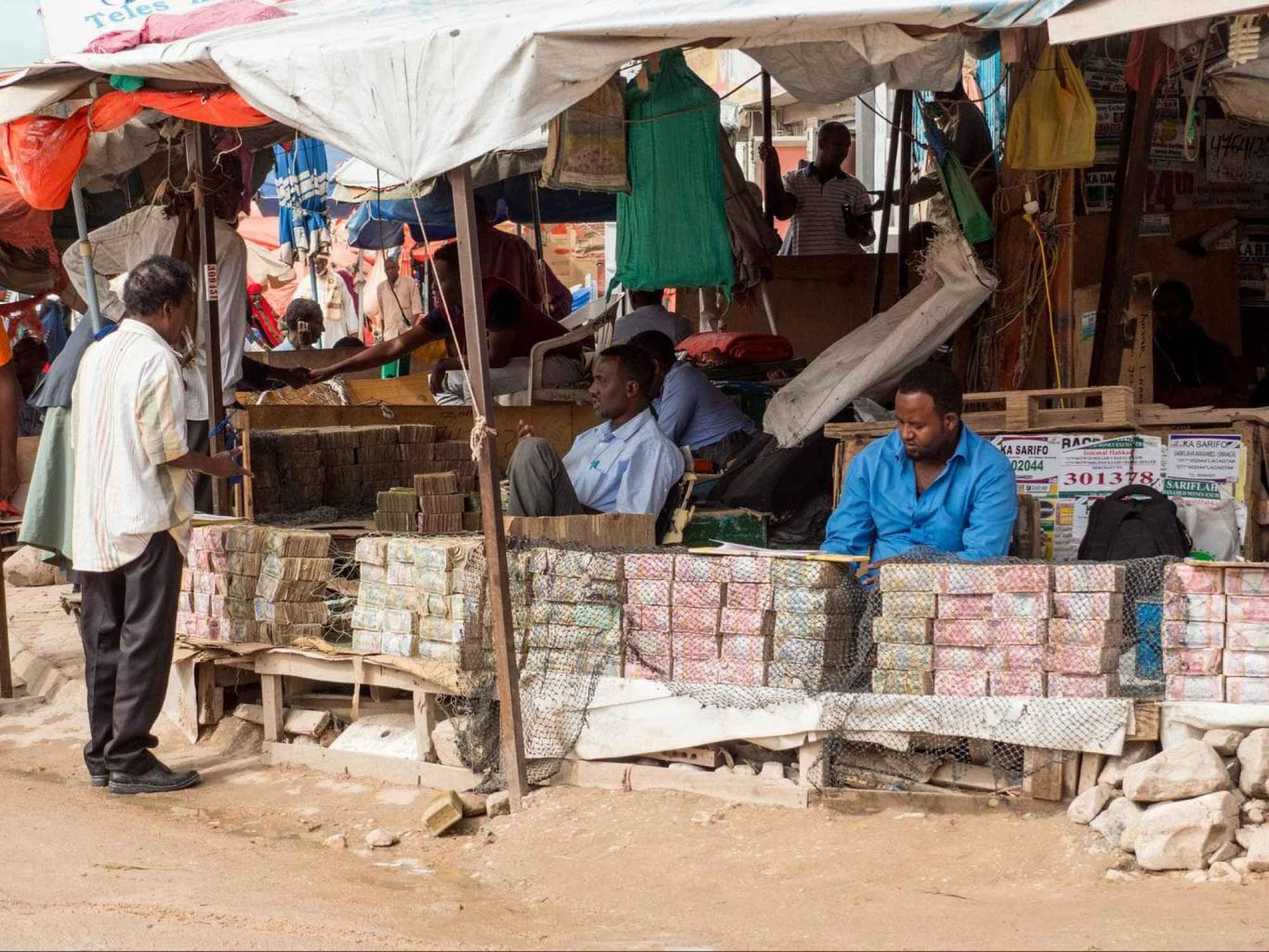 Money changers in the street of Hargeisa Central Market