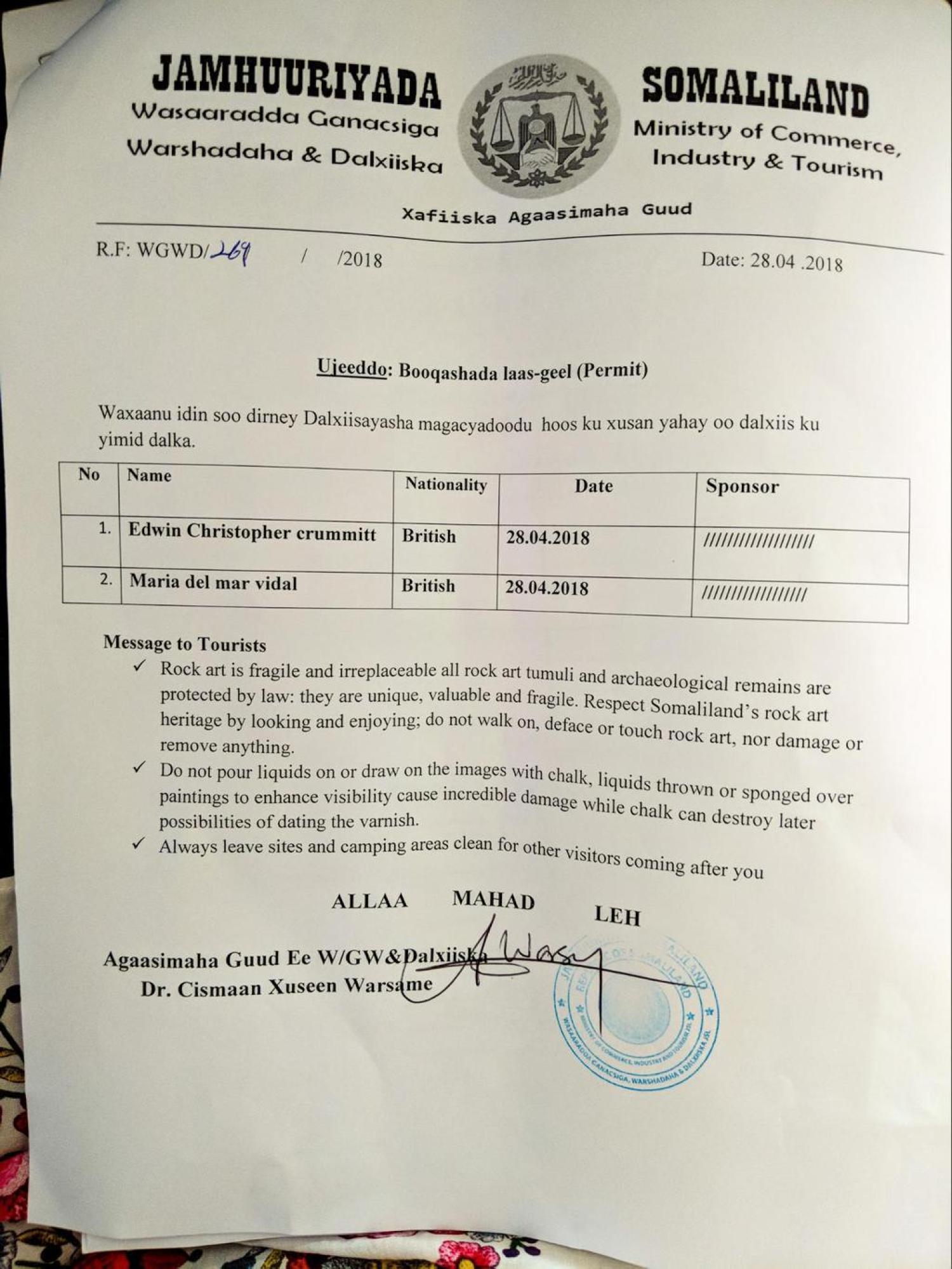 Permit for Las Geel