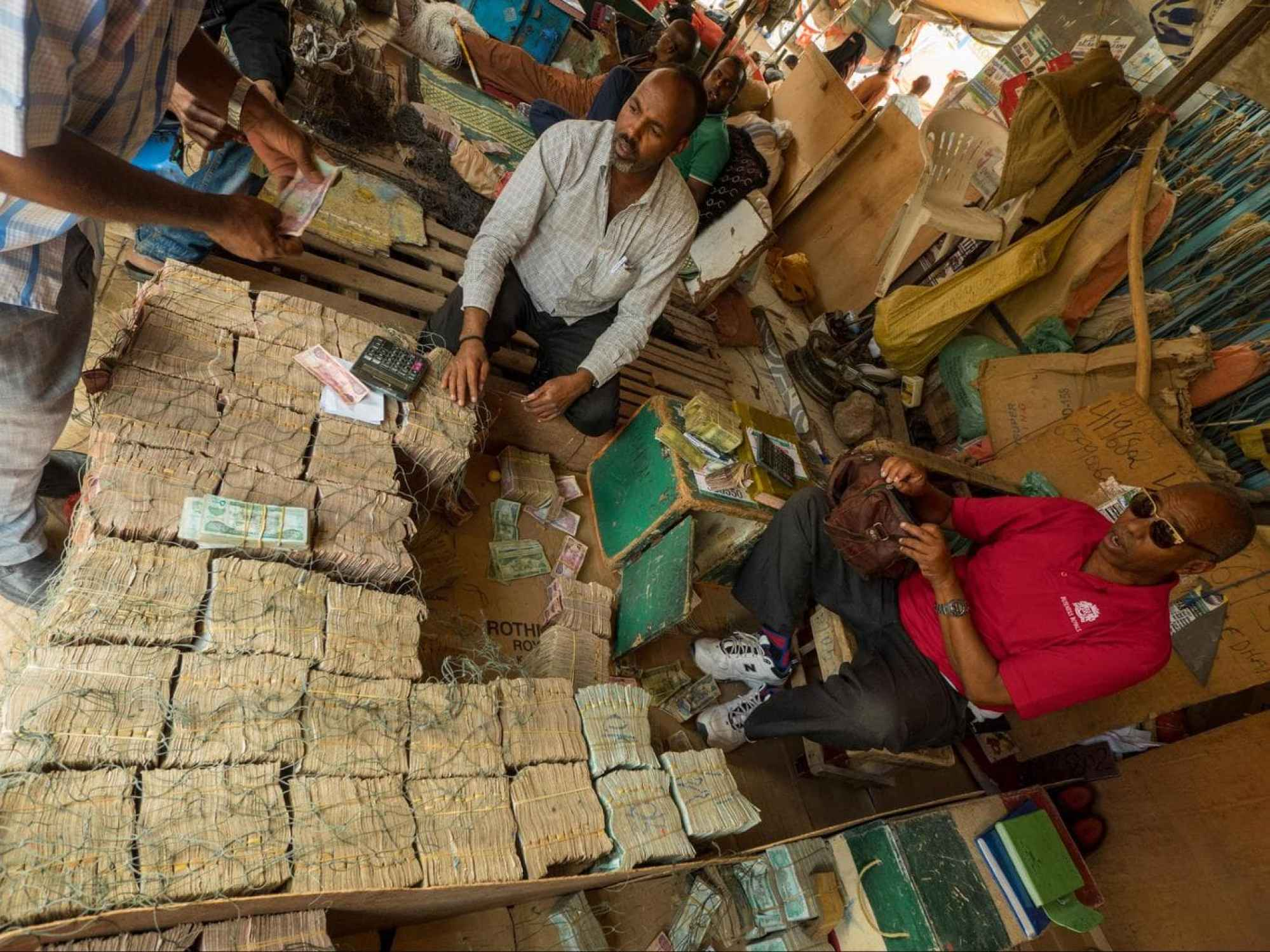 Piles of money on the floor in Hargeisa Somaliland