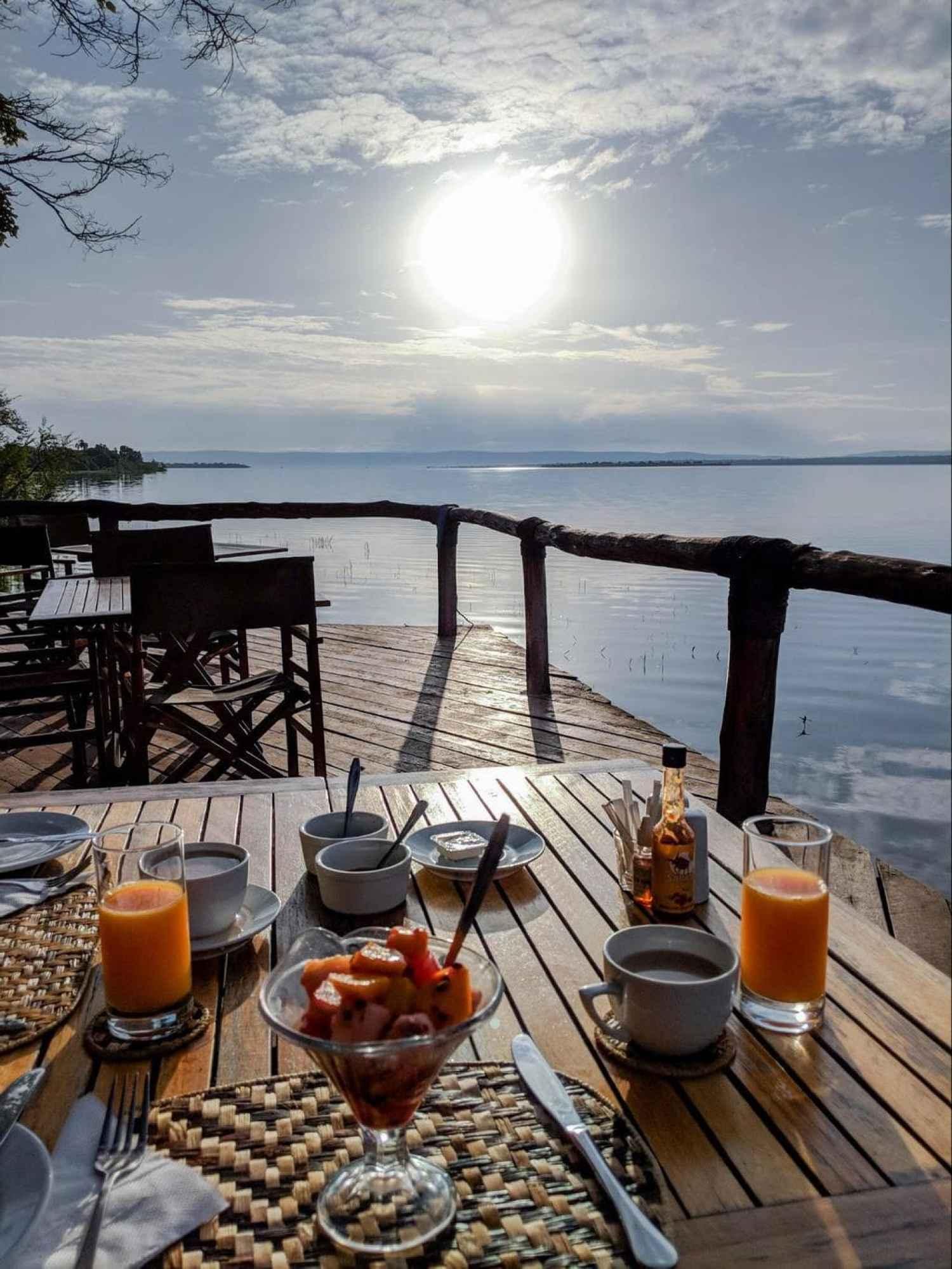 Breakfast in the viewing platform of Ruzizi