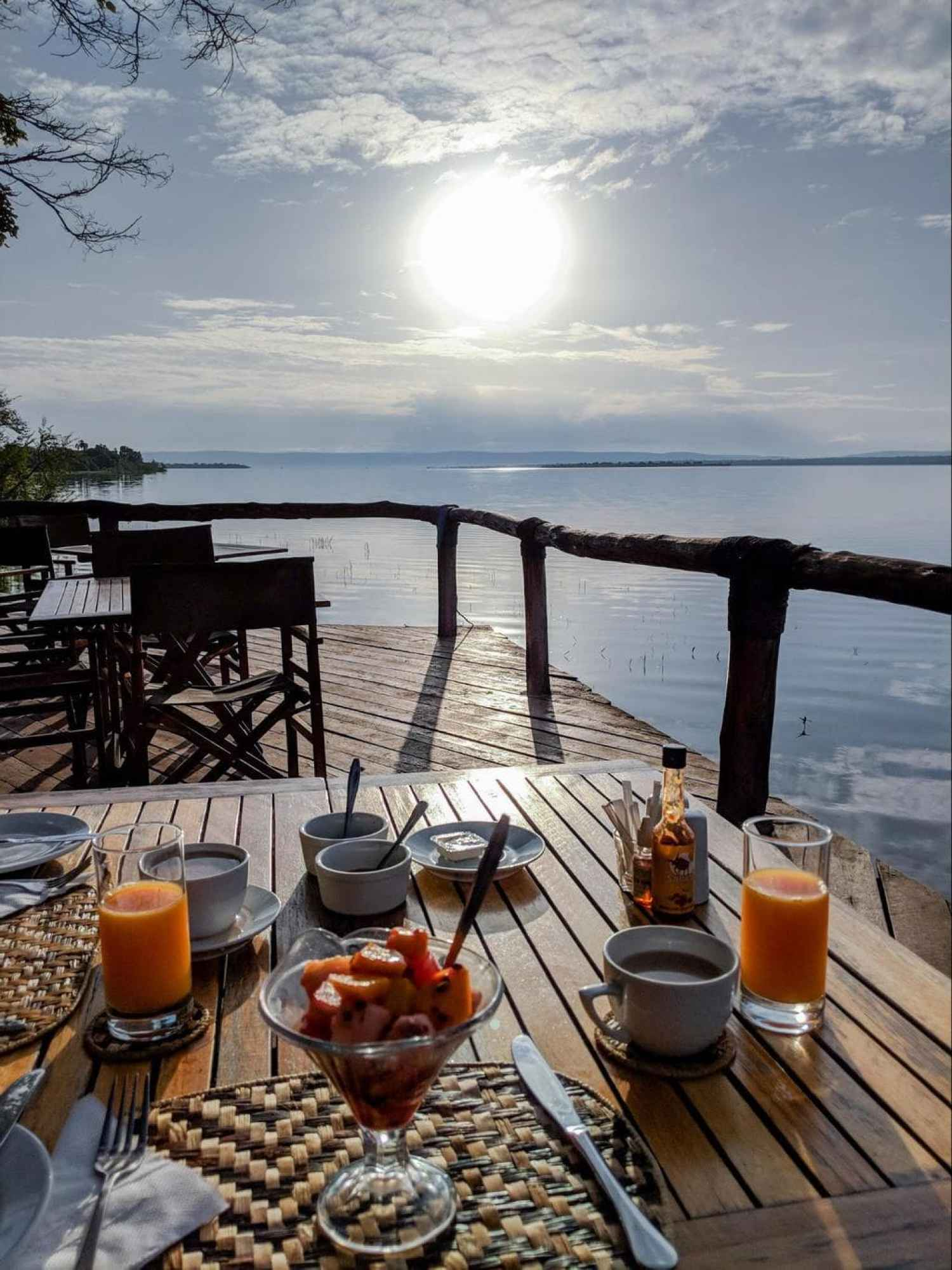 Breakfast in the viewing platform of Ruzizi