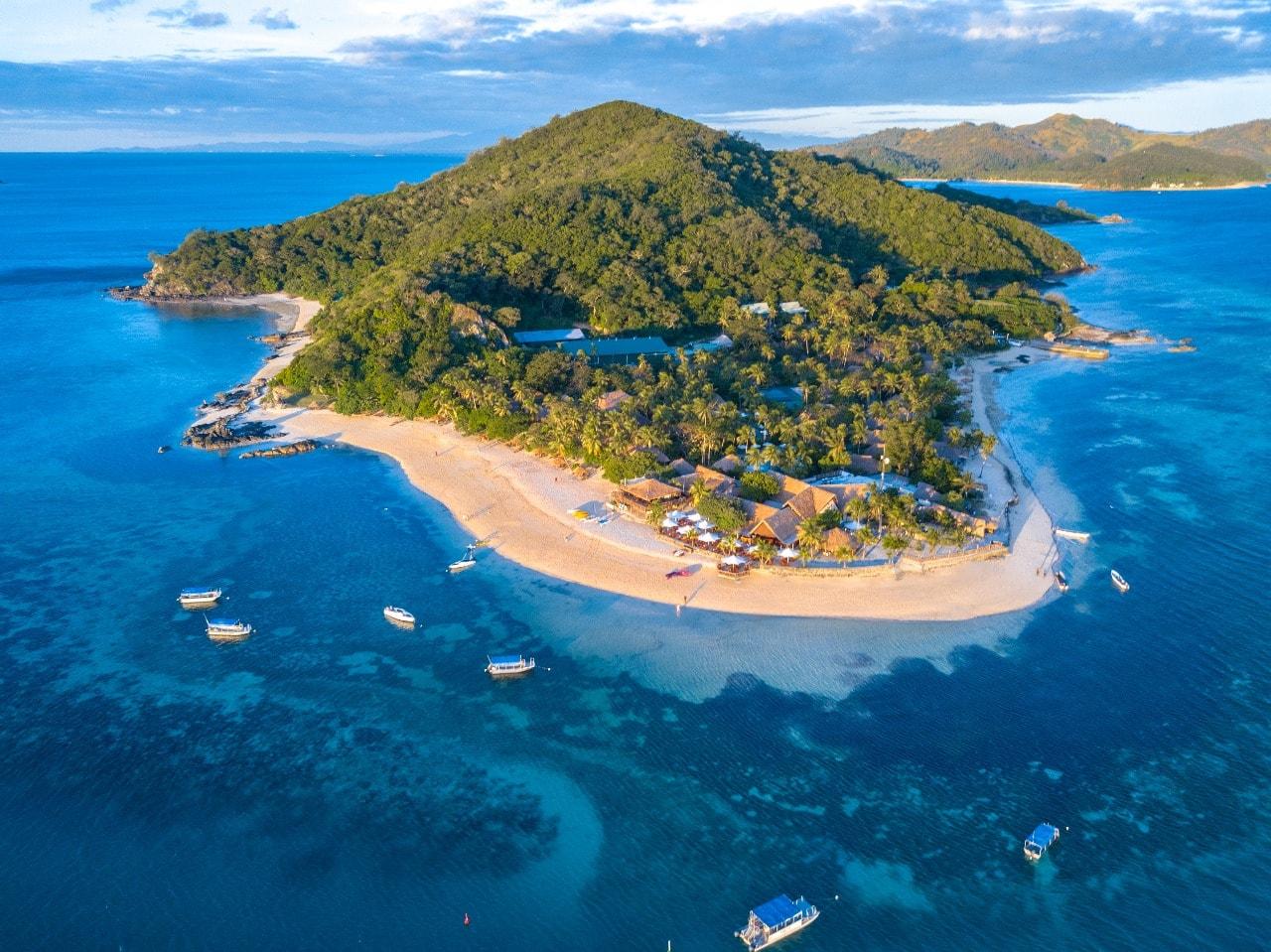 Castaway Island Resort entire island drone shot