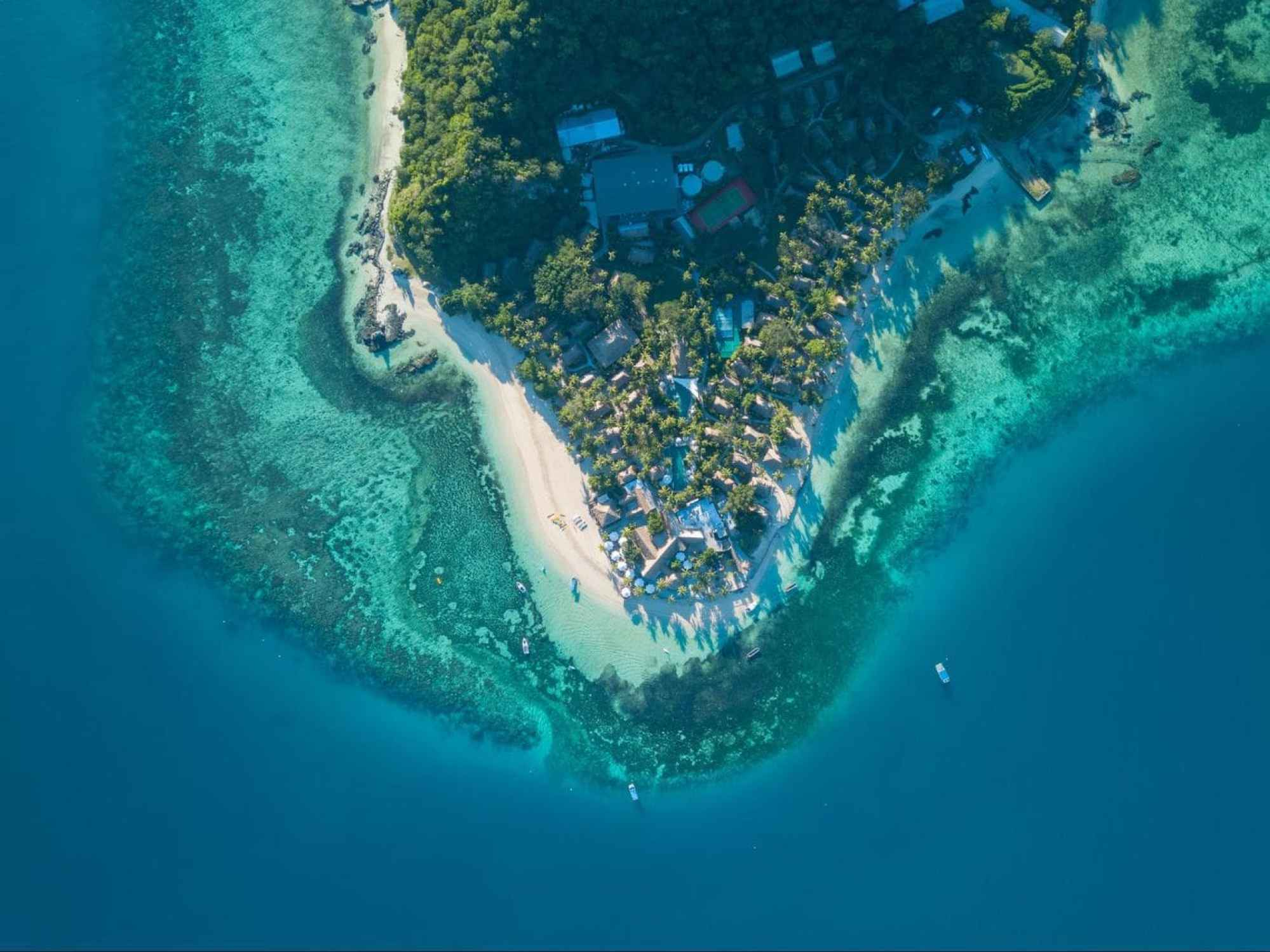 Castaway Island resort drone shot