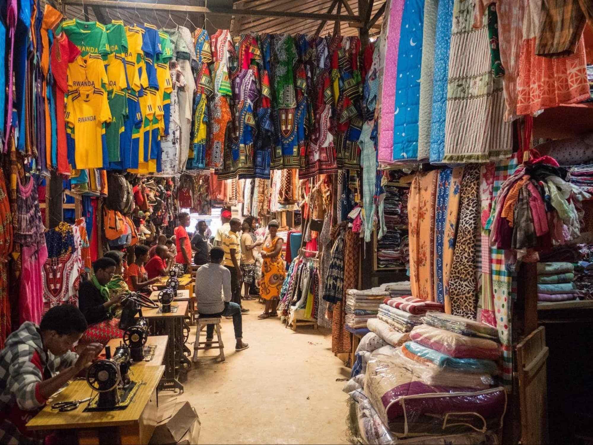 Fabrics and clothes at Kimironko Market