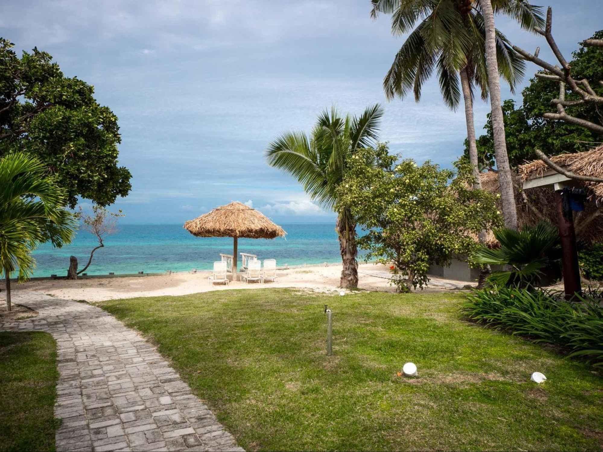 Hammocks and beach loungers across Castaway Island