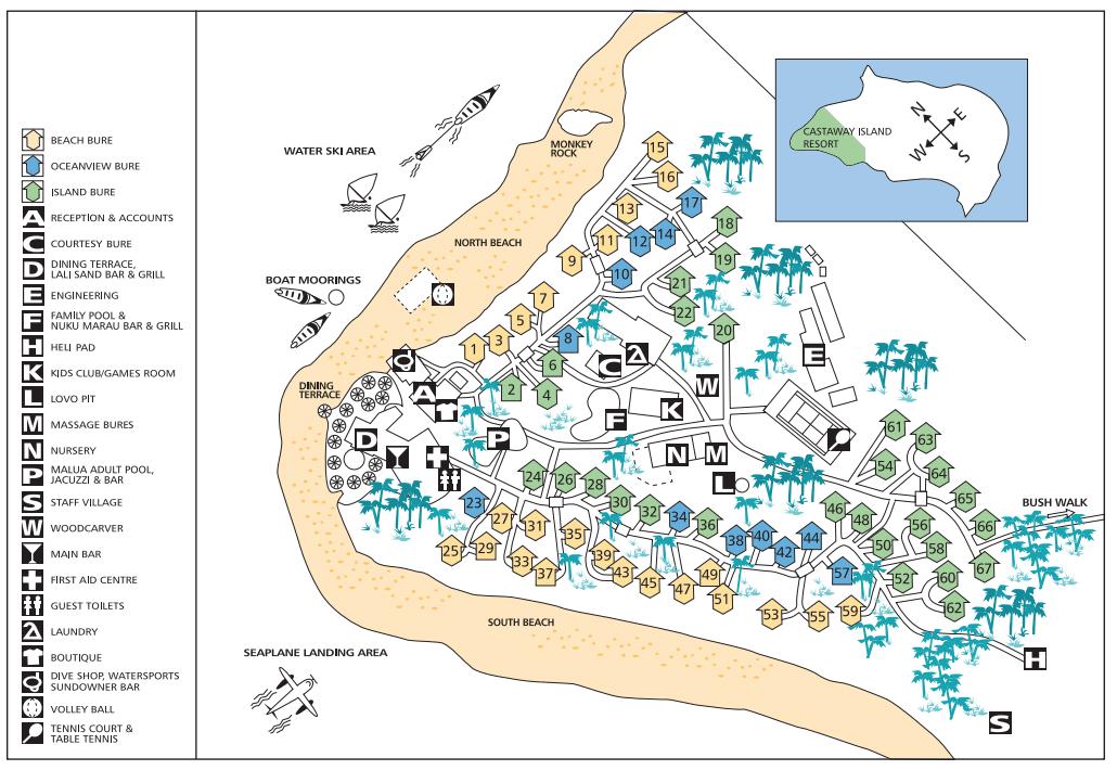 Layout of Castaway Island Resort