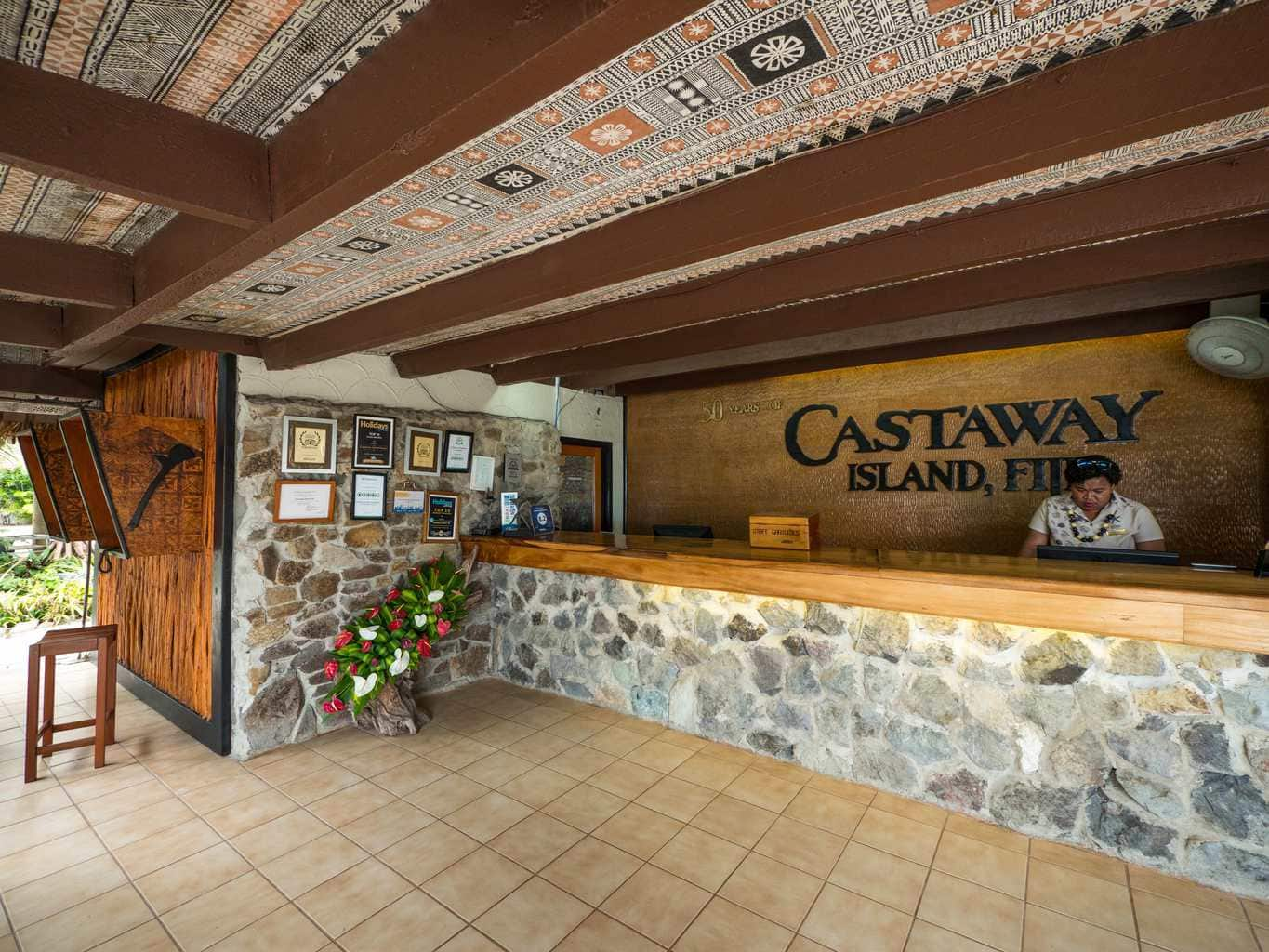 Reception area at the Castaway Island Resort