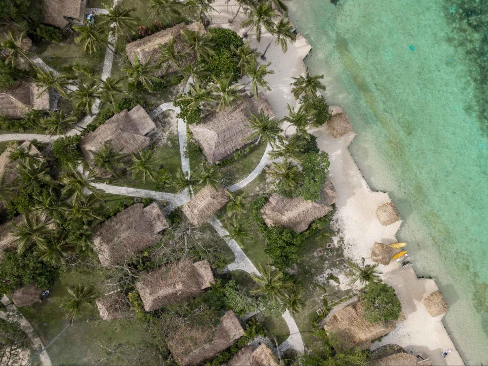 The beach bures at Castaway Island