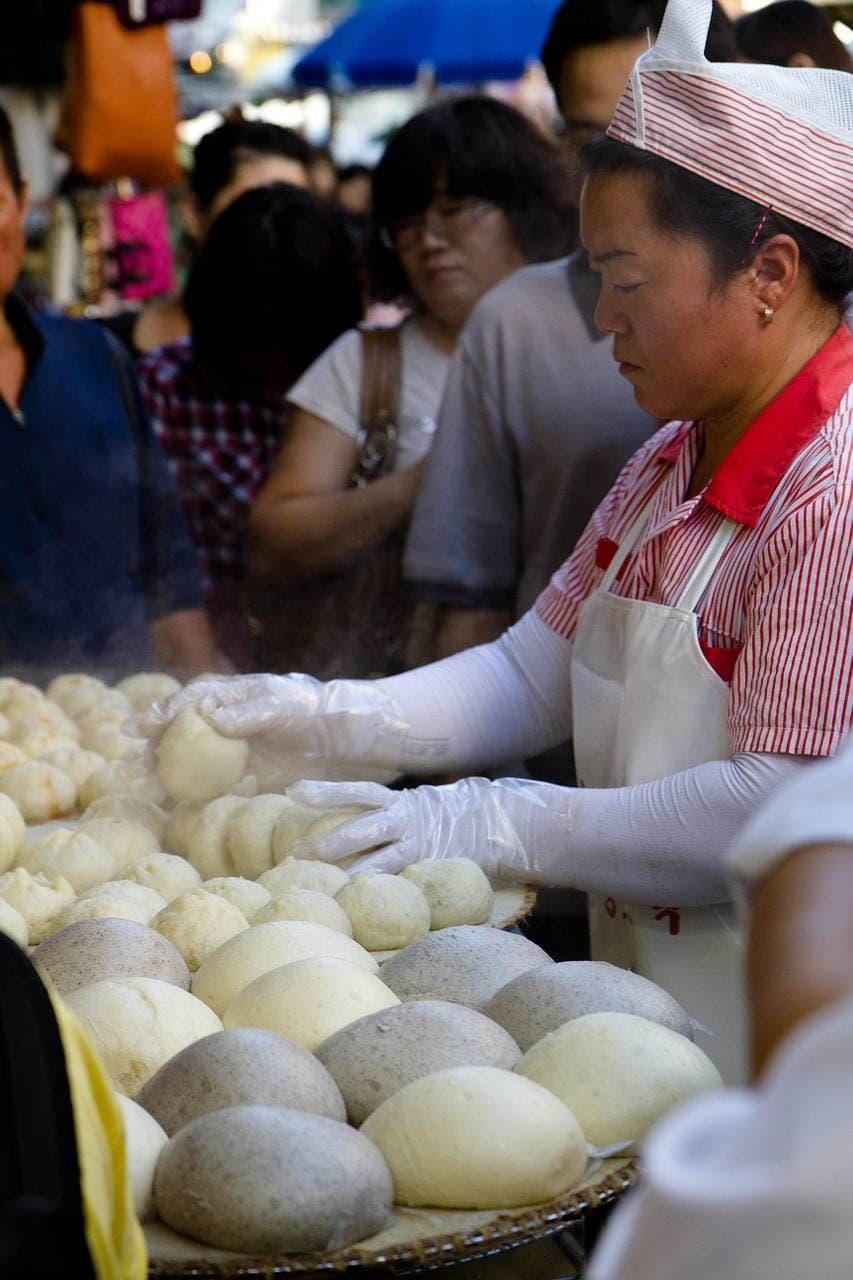 Delicious steamed buns at Namdaemun Market