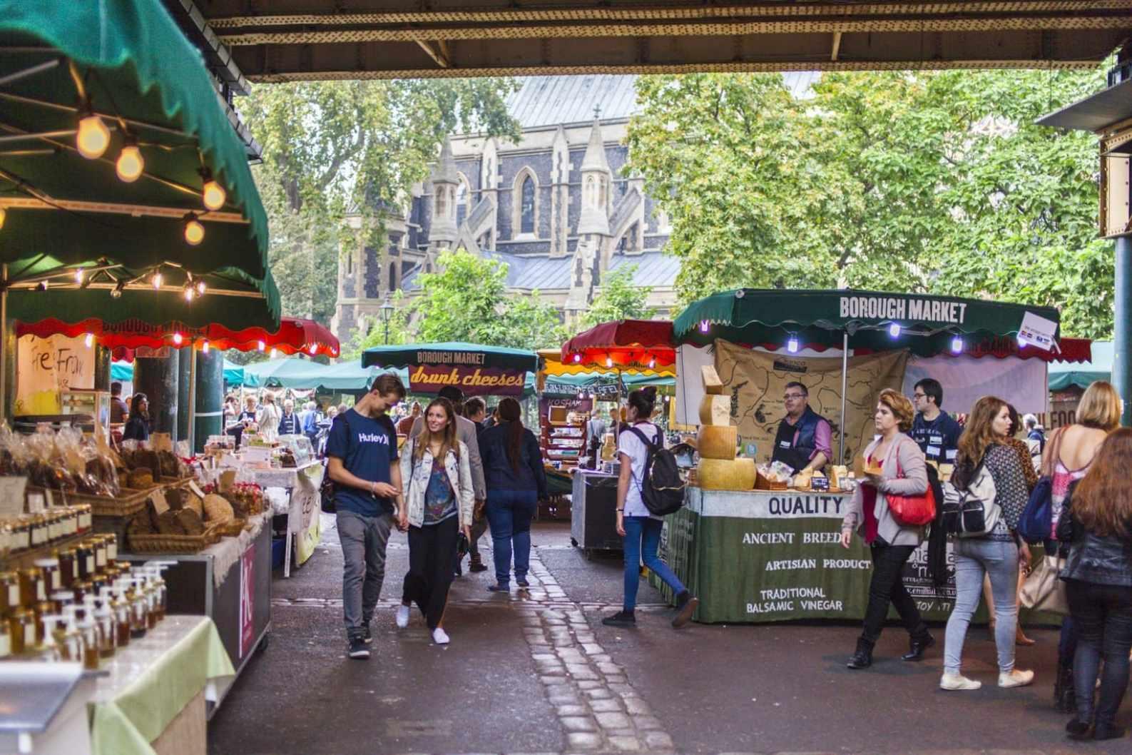 Inside Borough Market in London
