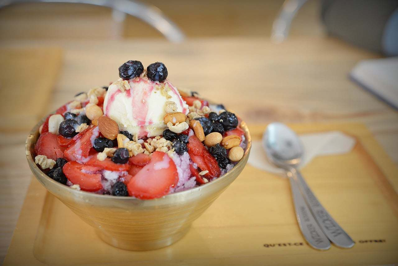 Patbingsu or shaved ice with red bean is a popular summer dessert