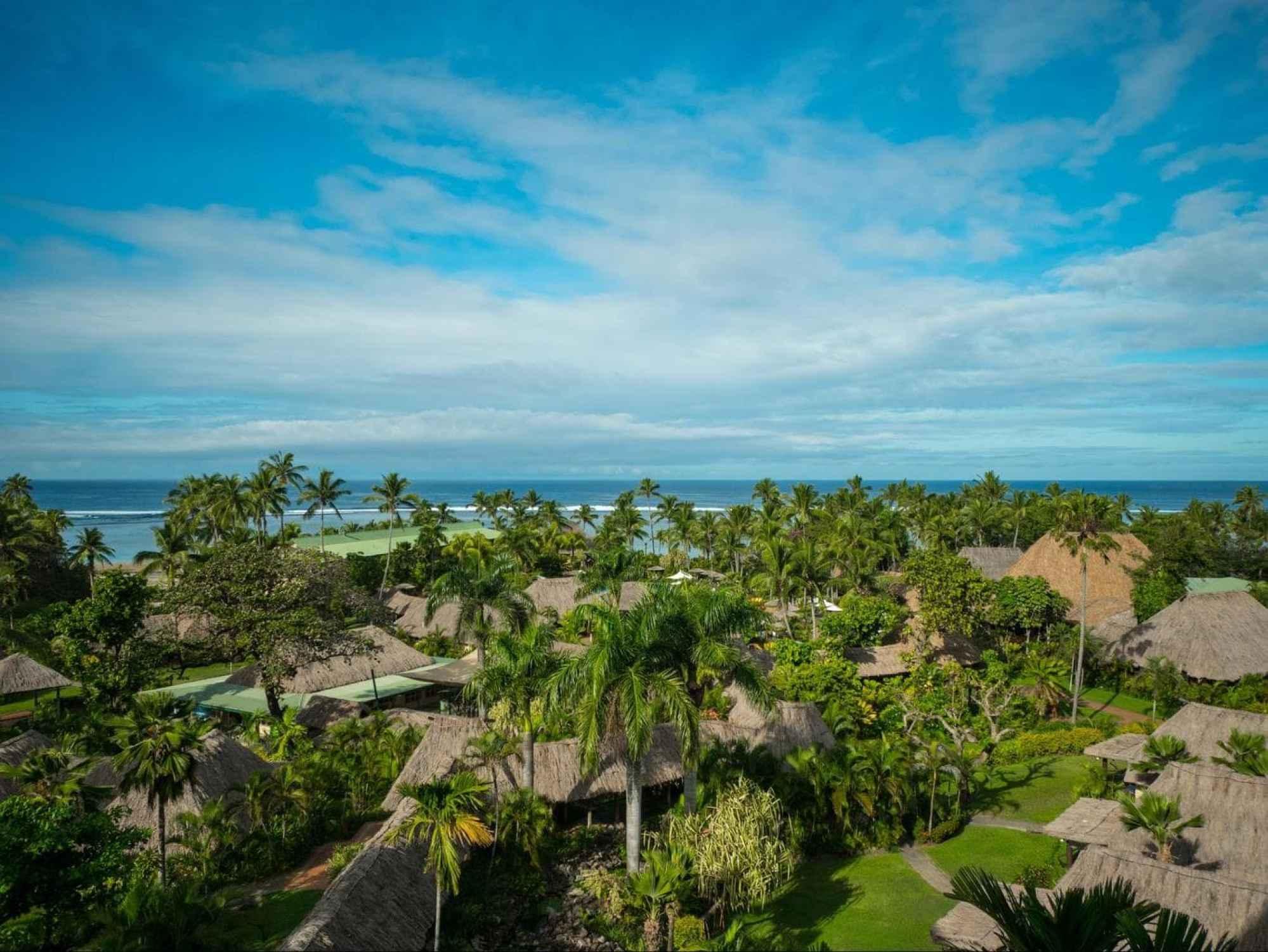 The bures at Outrigger Fiji Beach Resort