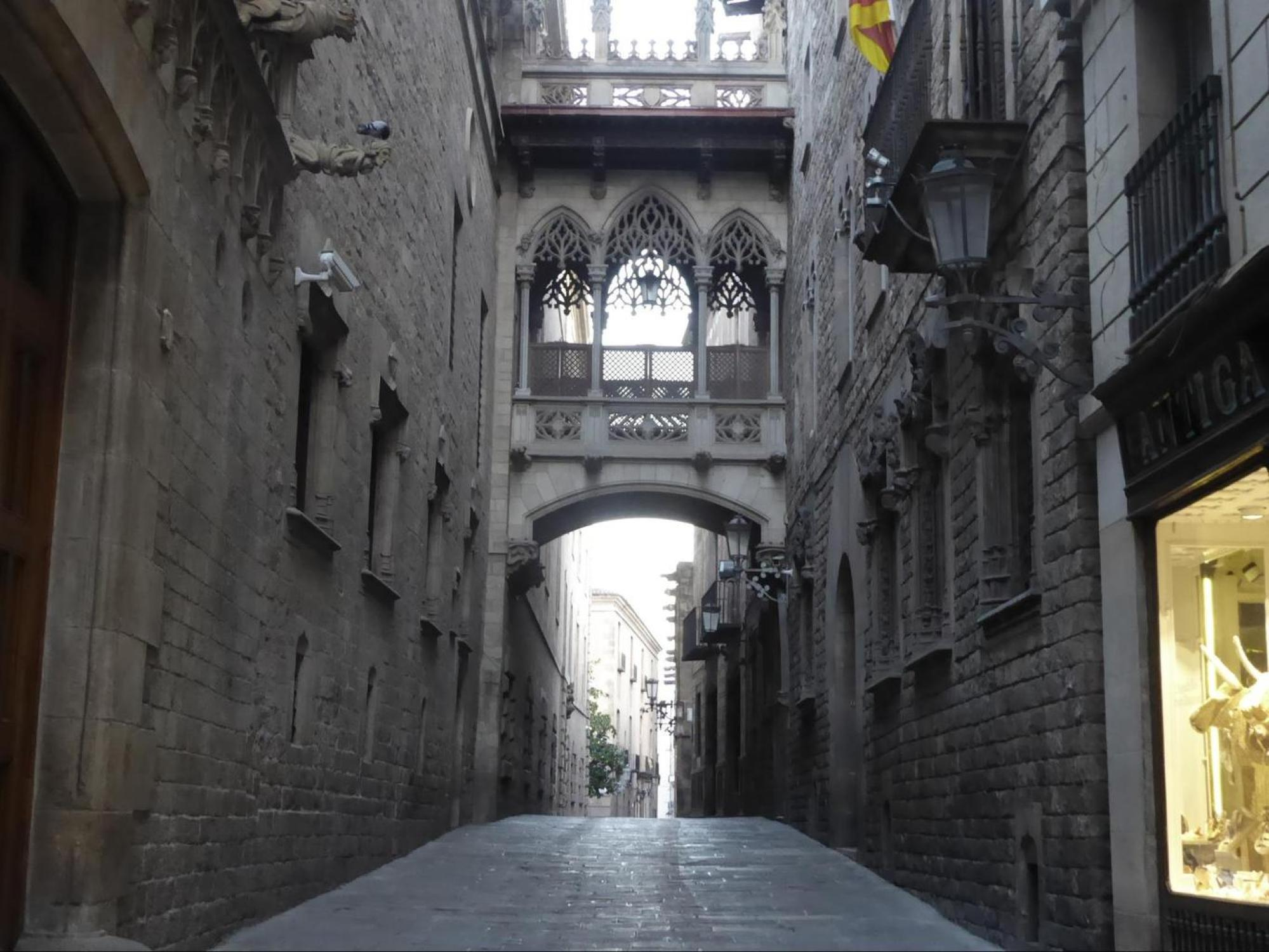 The Gothic Quarter, empty in the middle of August at 8am