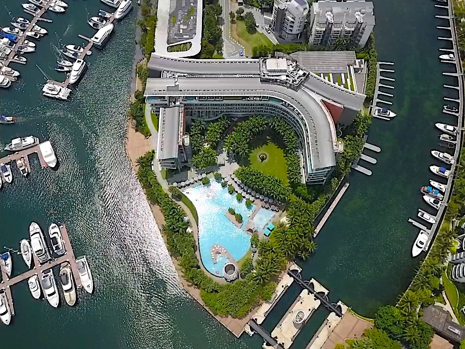 The marina area and pool at W Singapore - Sentosa Cove