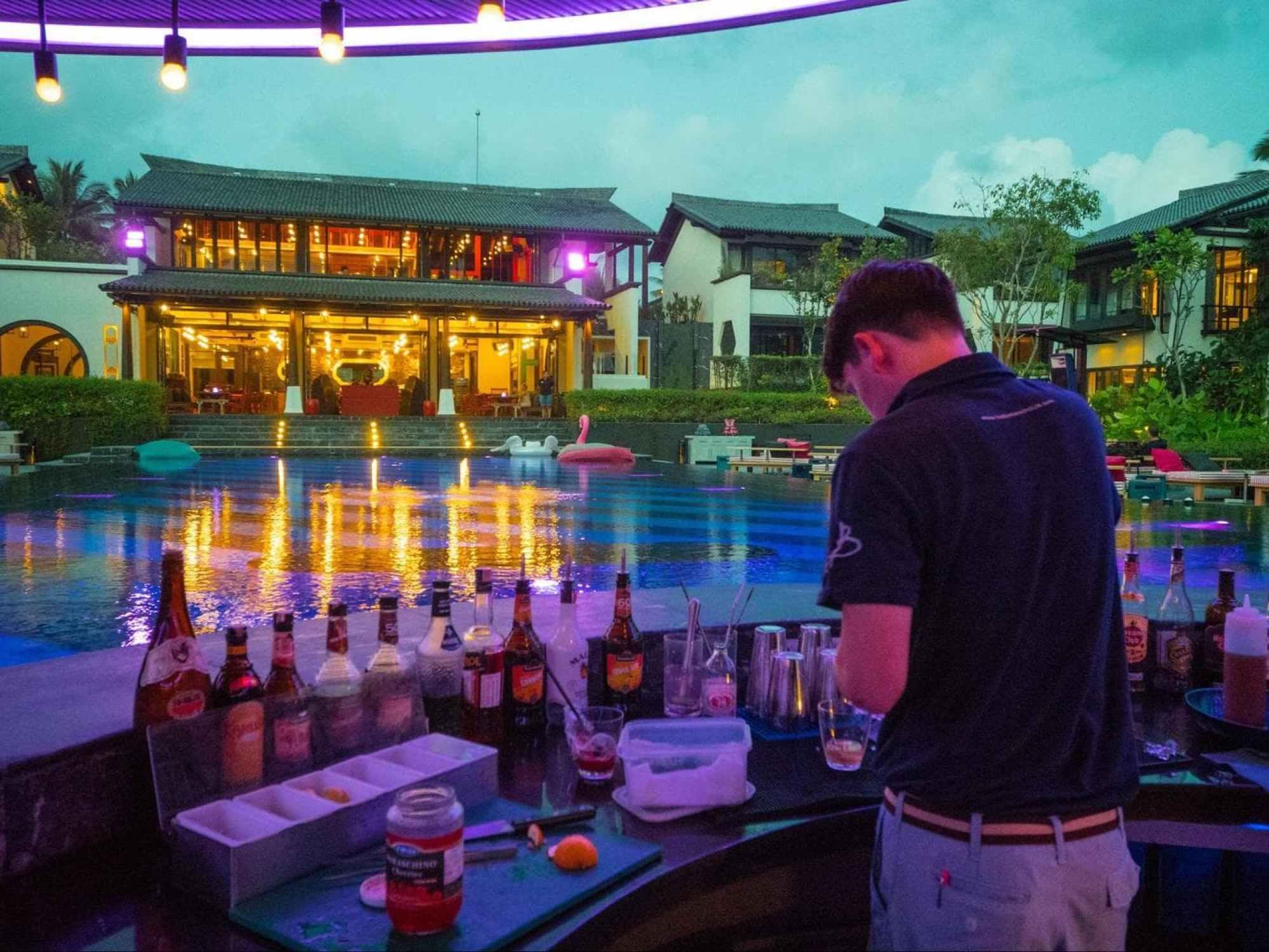 The pool bar at Baba Beach Club Phuket