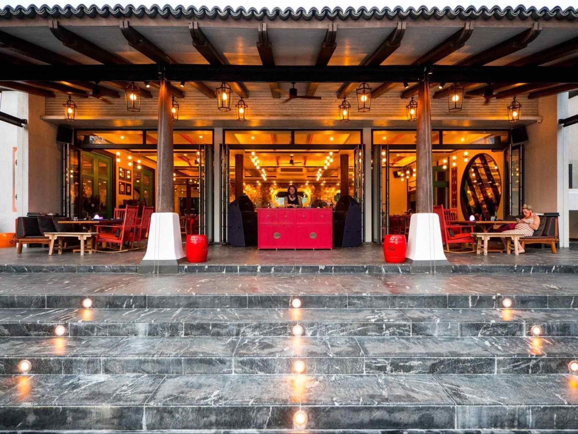 The restaurant exterior at Baba Beach Club Phuket