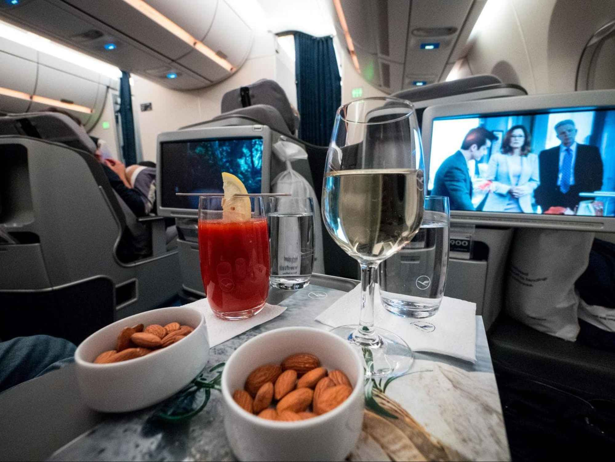 Lufthansa Business Class drinks and snacks after take-off