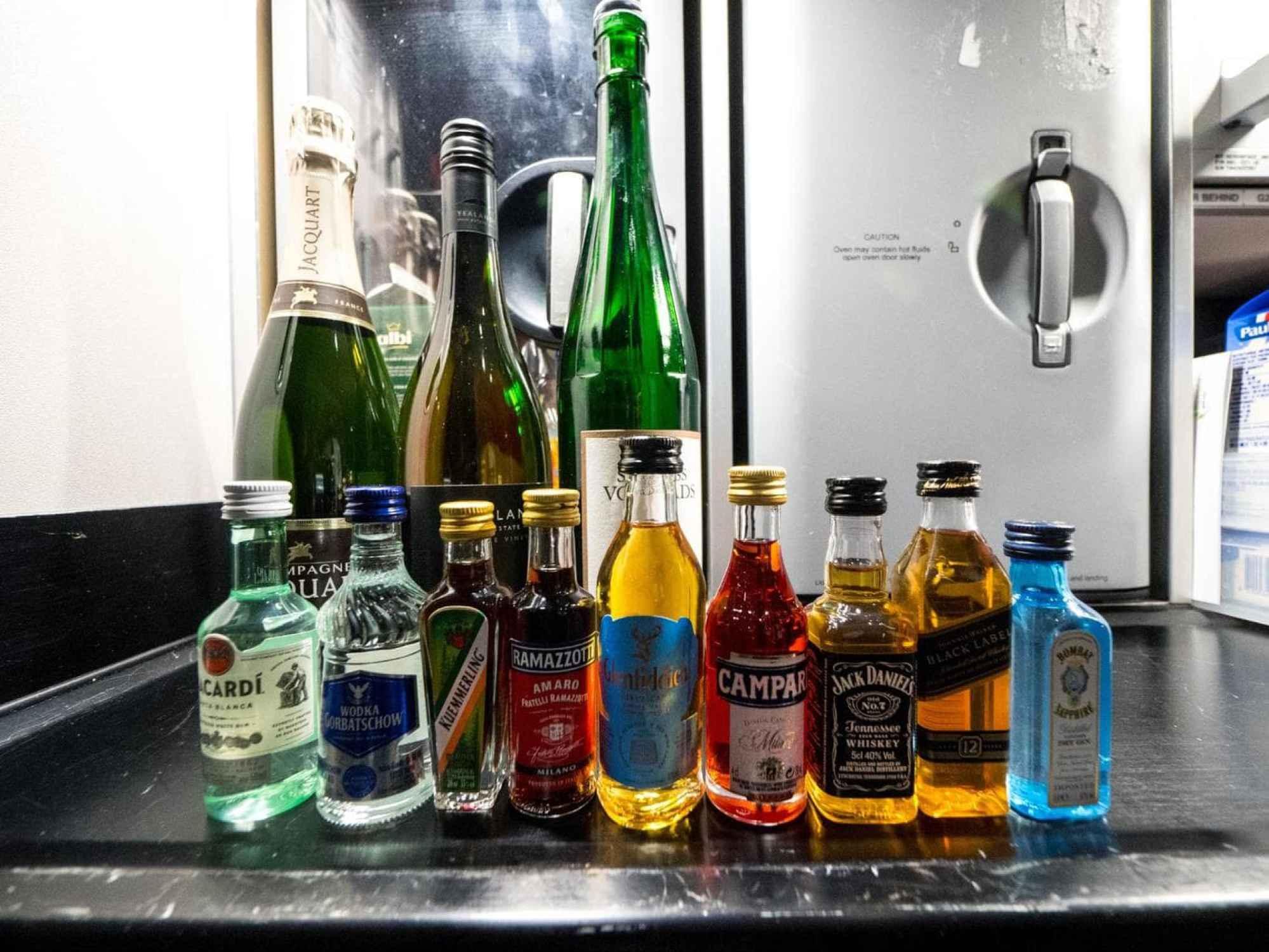 Lufthansa Business Class food - Choice of spirits