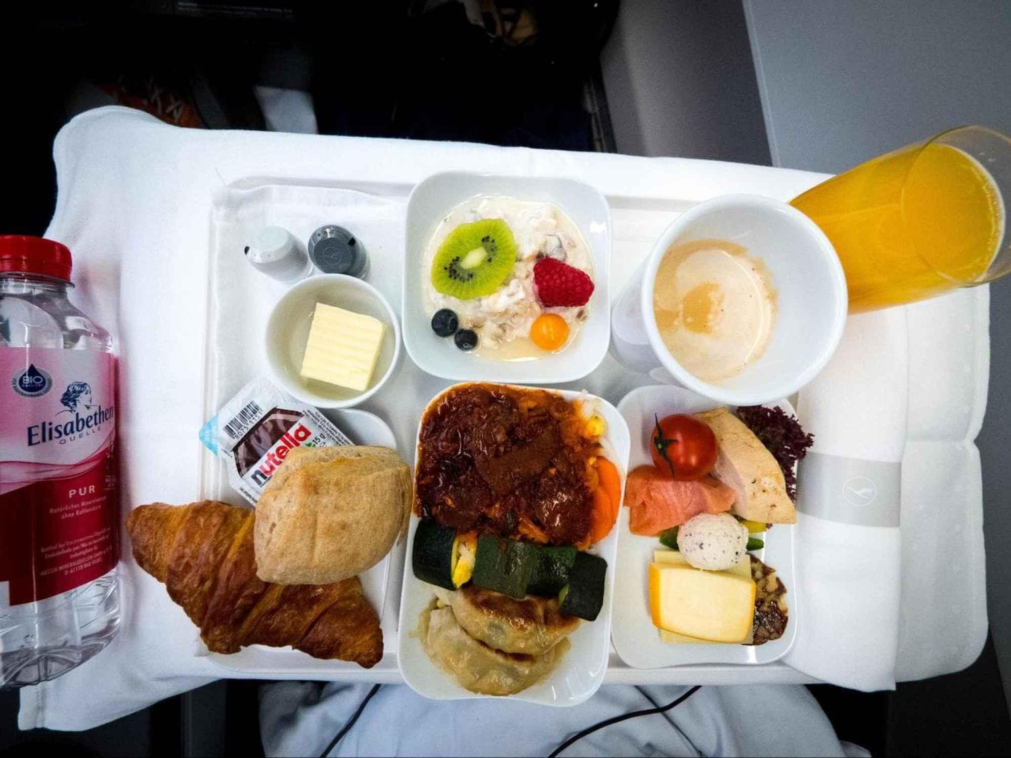 Lufthansa Business Class food - His breakfast