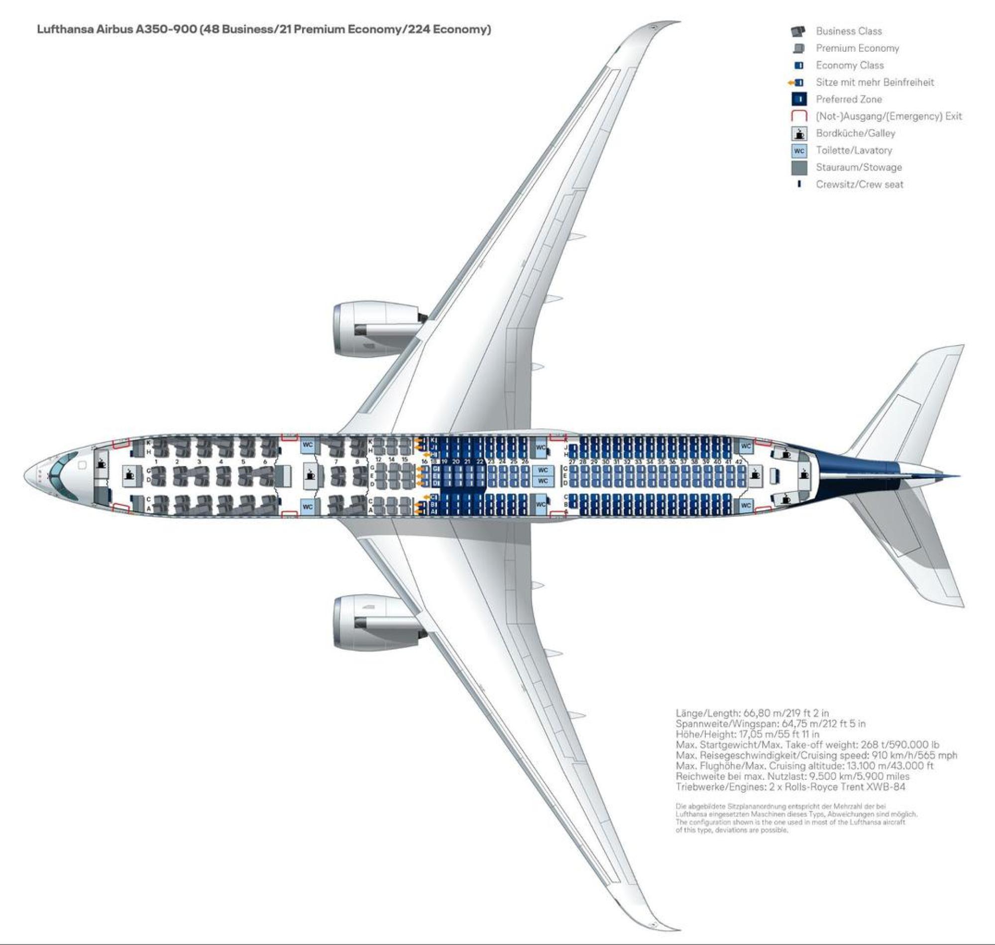 Seat plan on Lufthansa A350-900