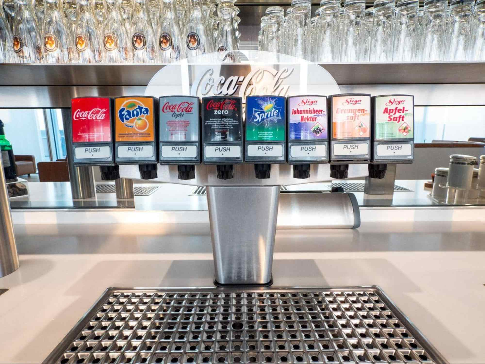 Sodas in Lufthansa Business Class Lounge at Munich Airport