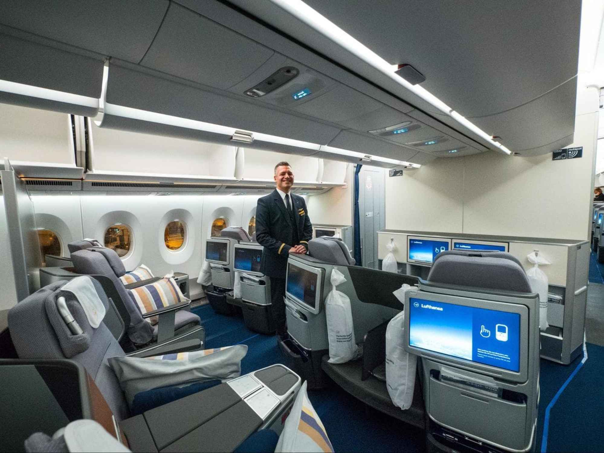 The Business Class cabin on the new Lufthansa A350