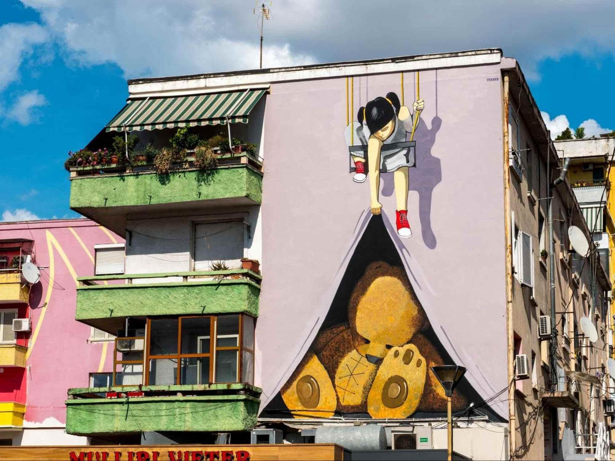 A wall mural in Tirana