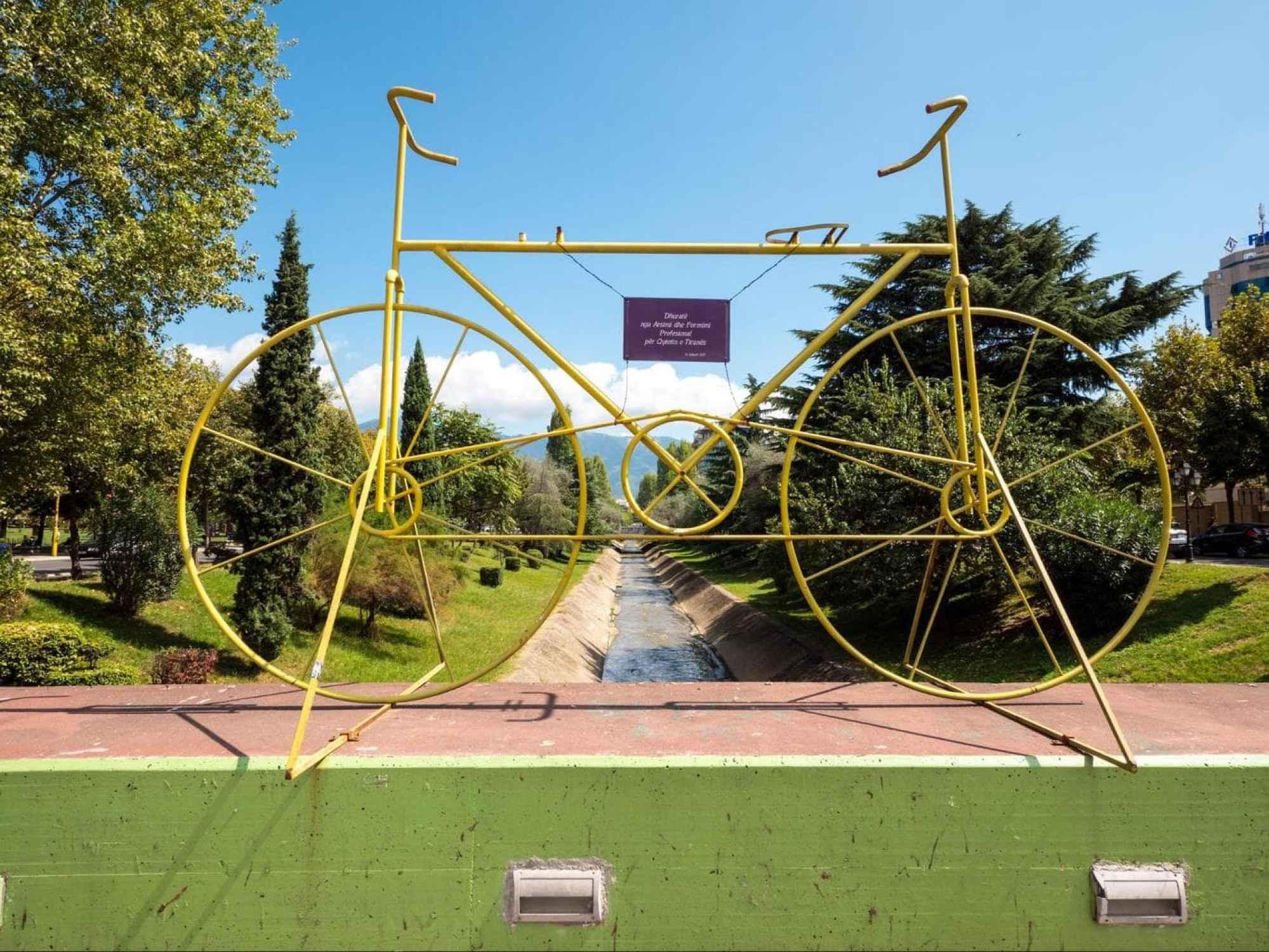 Bridge art installation in Tirana