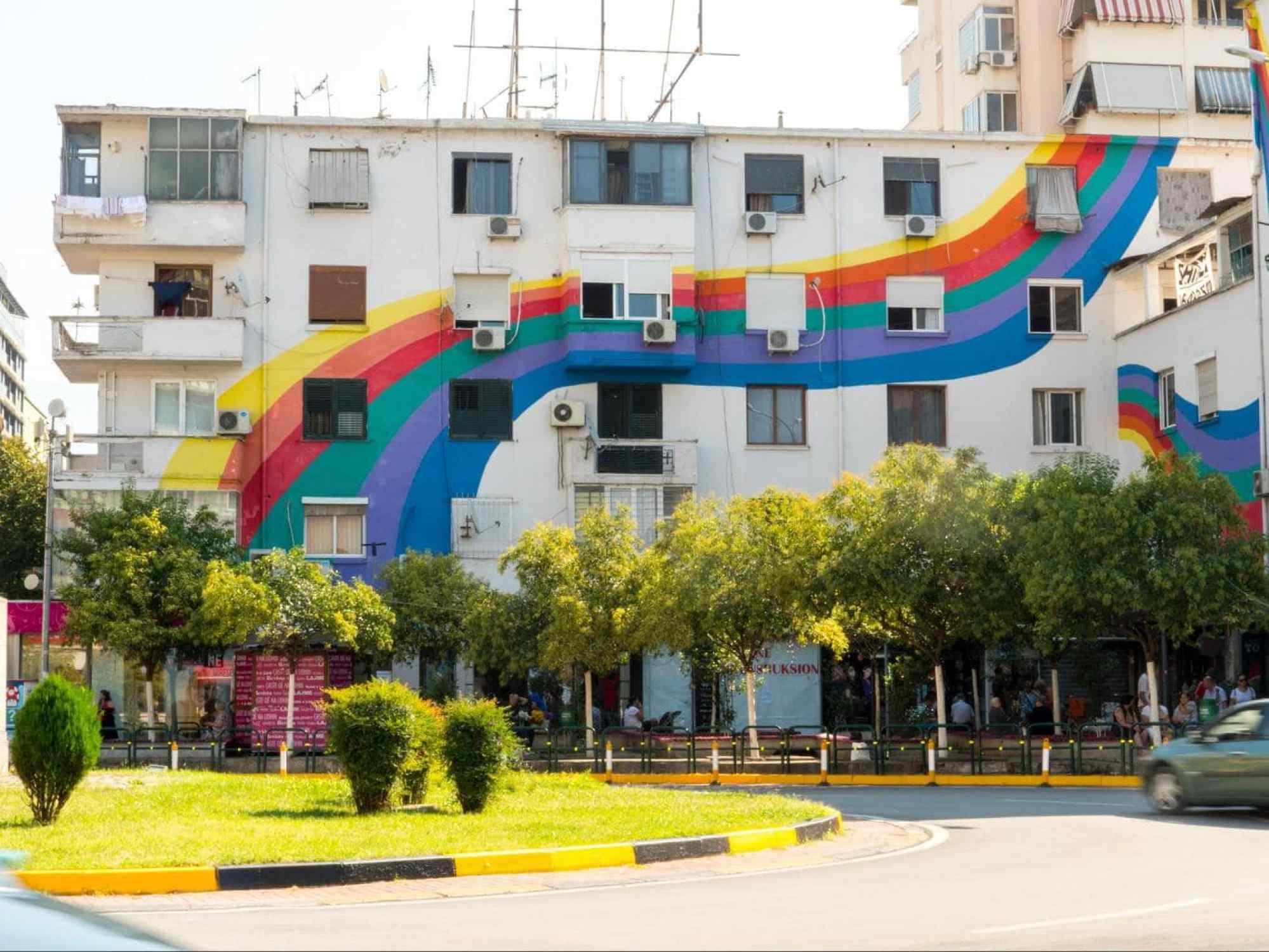 Tirana's rainbow building