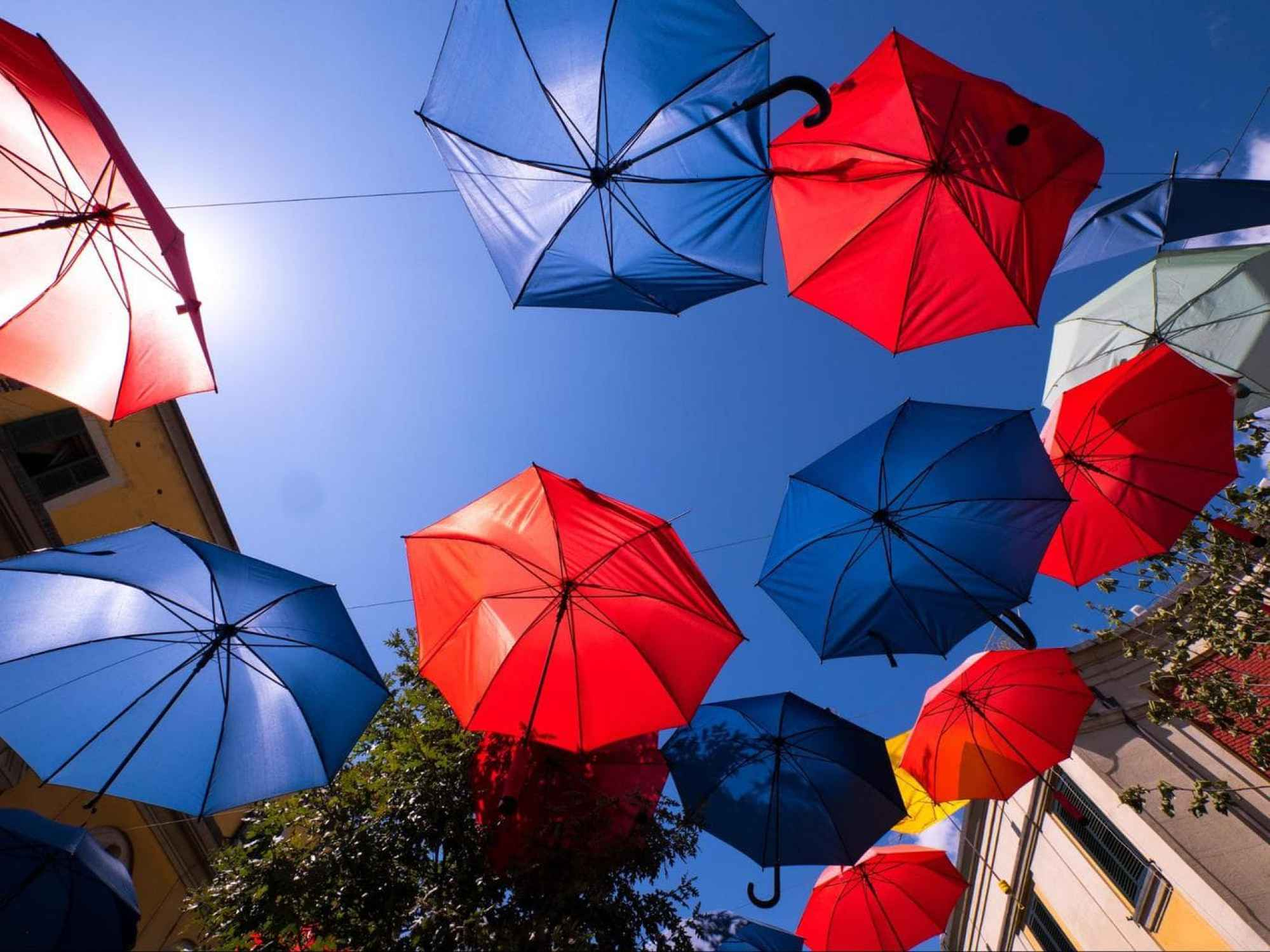 Upside down umbrellas in Tirana