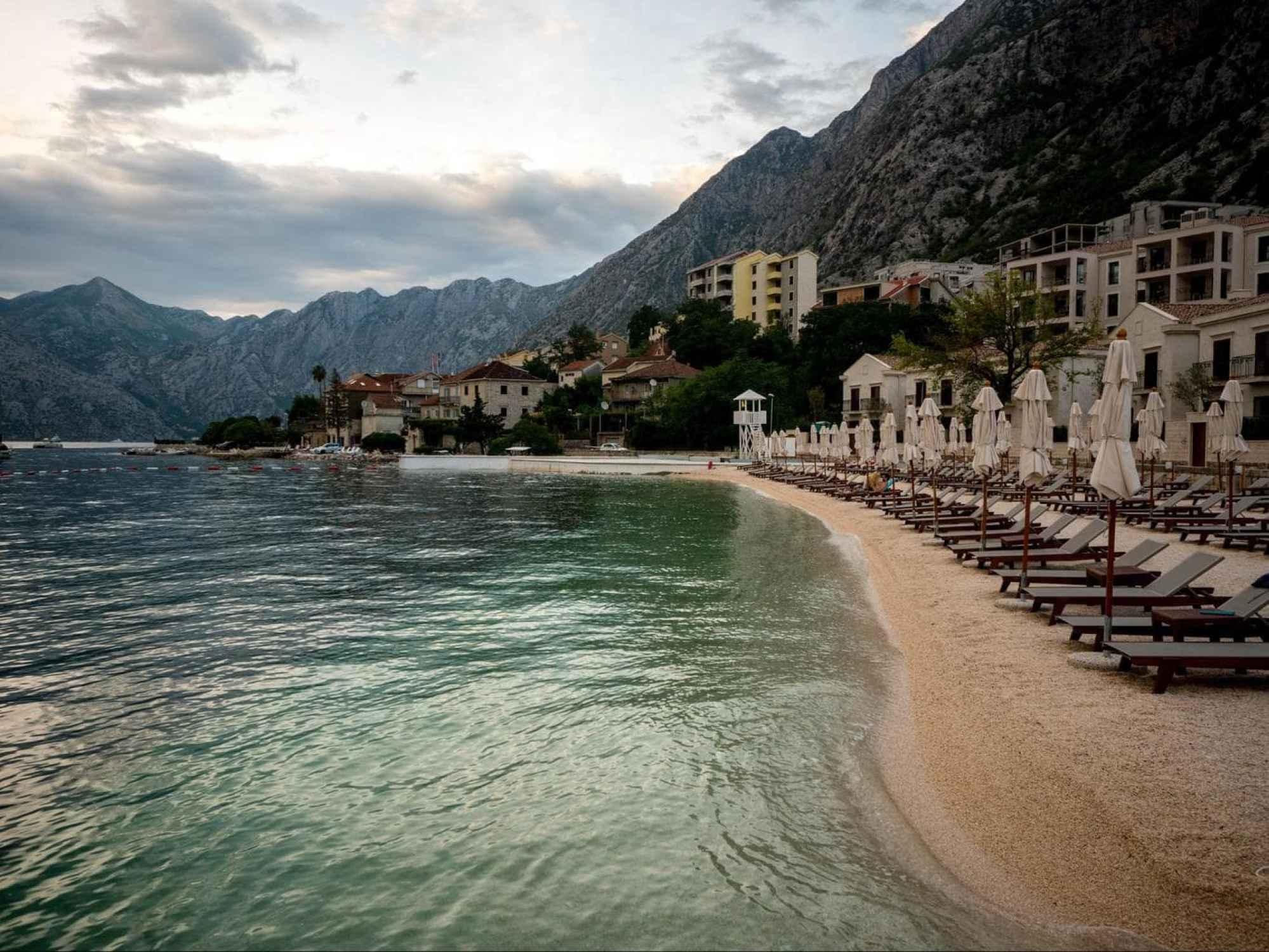 Dobrota beach in front of Azure Palazzi