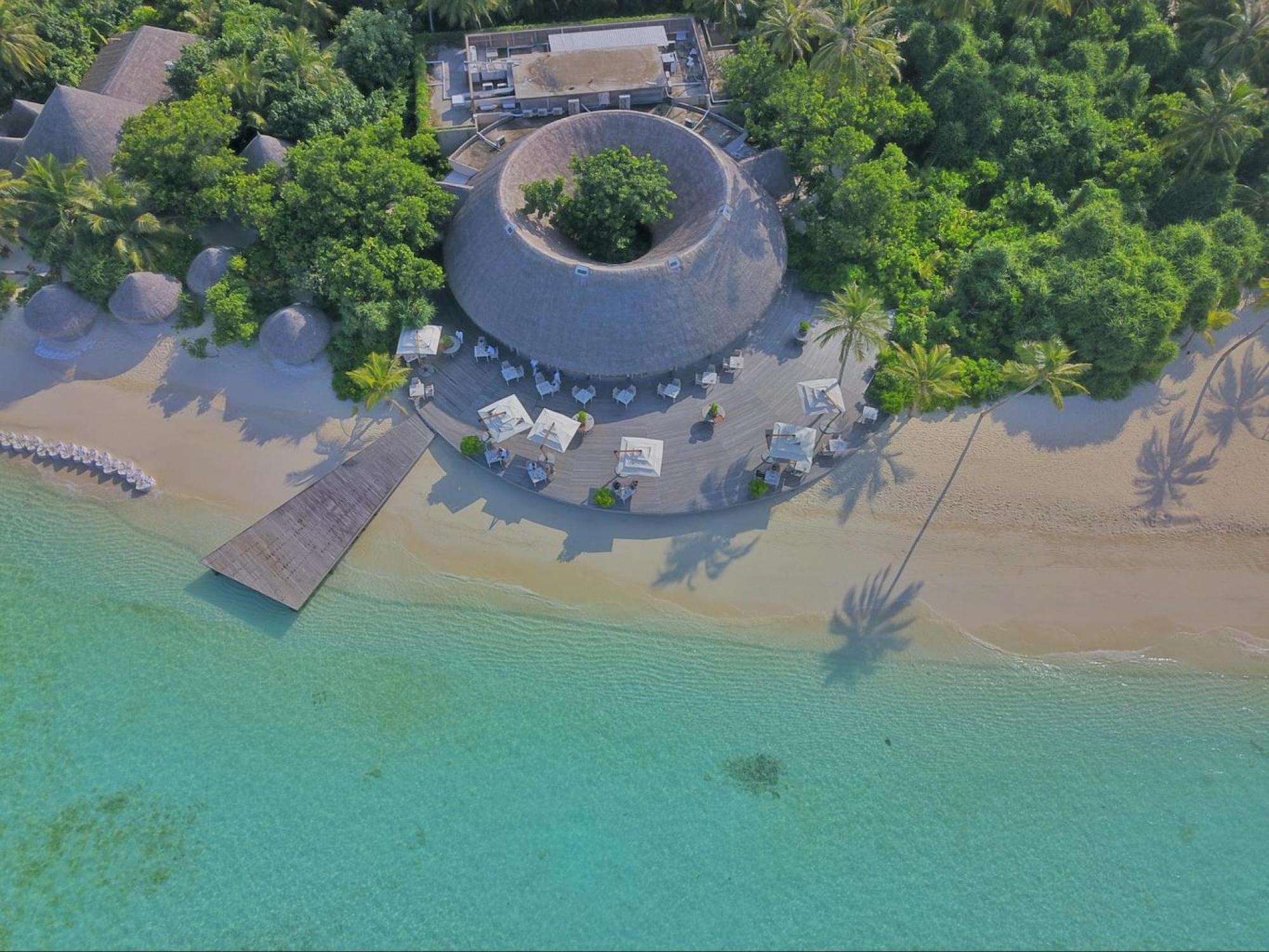 Drone of Ocean Restaurant at Milaidhoo