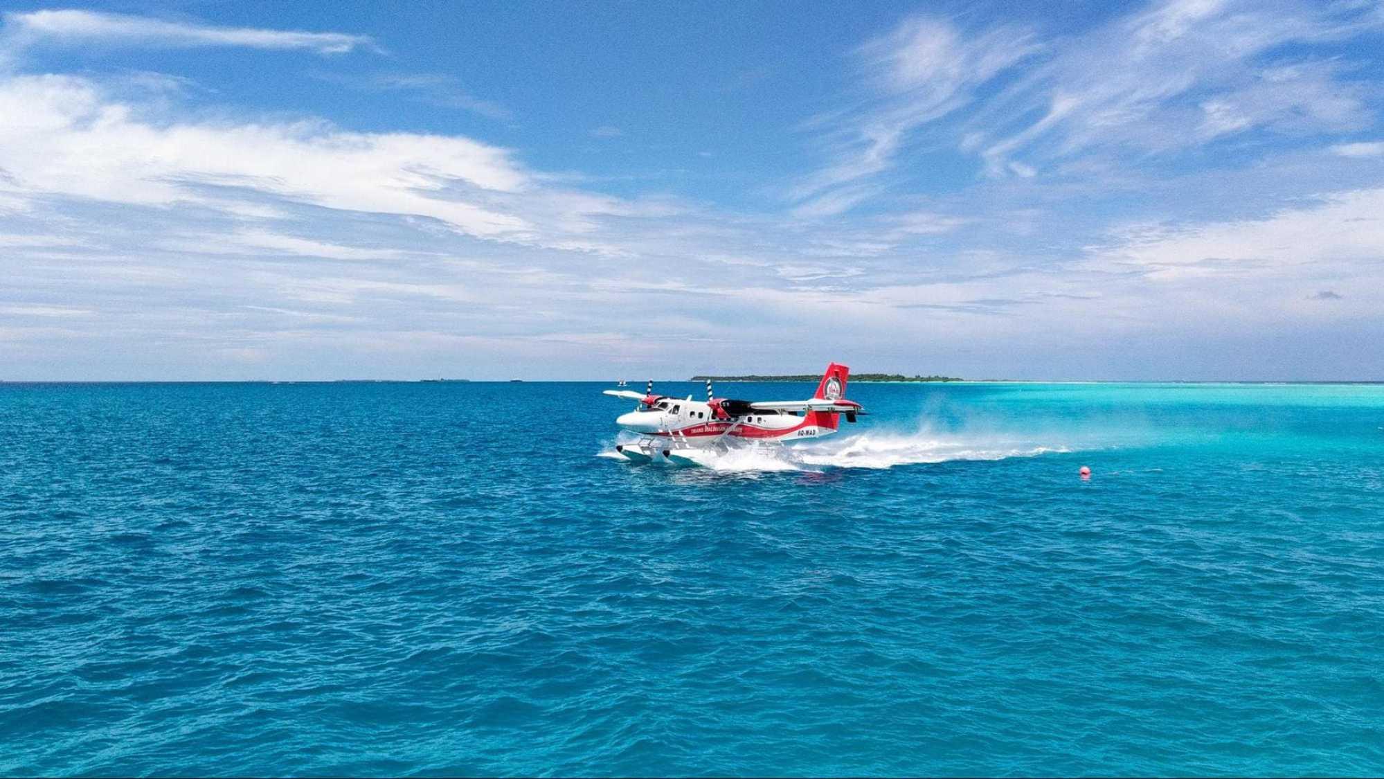 Landing on a seaplane At LUX* Maldives