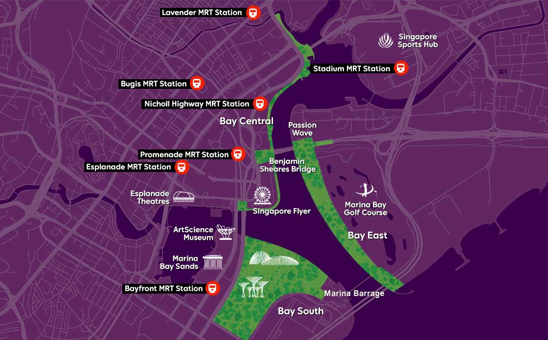 Map of Bay East by Gardens by the Bay